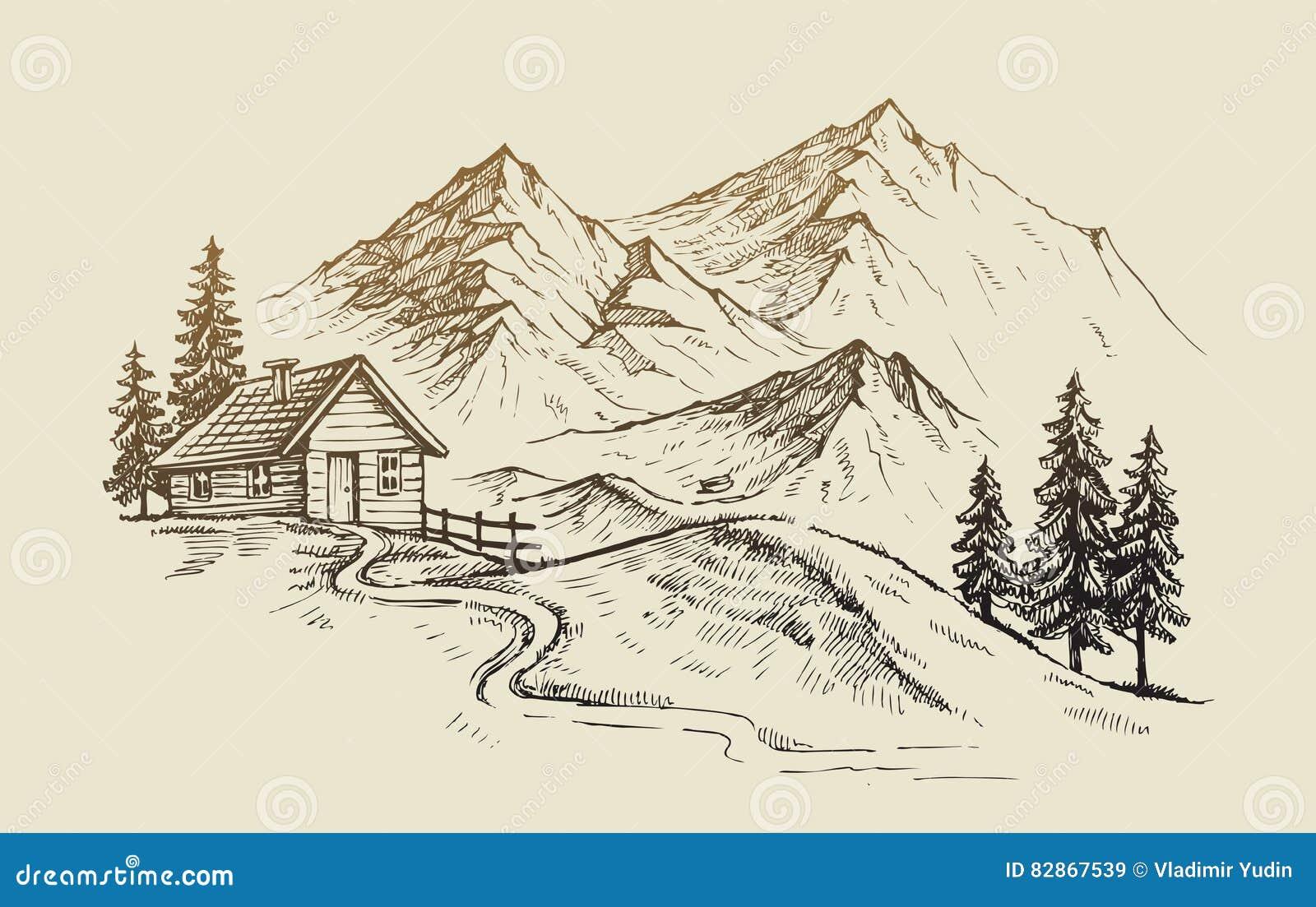 Vector del paisaje de la montaña