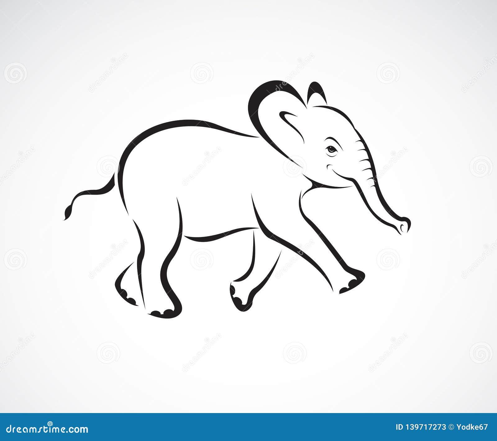 Vector del pequeño diseño del elefante en el fondo blanco Animales salvajes Logotipo o icono del elefante Vector acodado editable