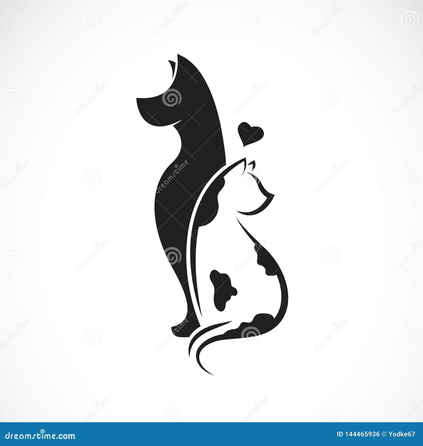 Vector del perro y del gato en un fondo blanco pet Animales Ejemplo acodado editable fácil del vector