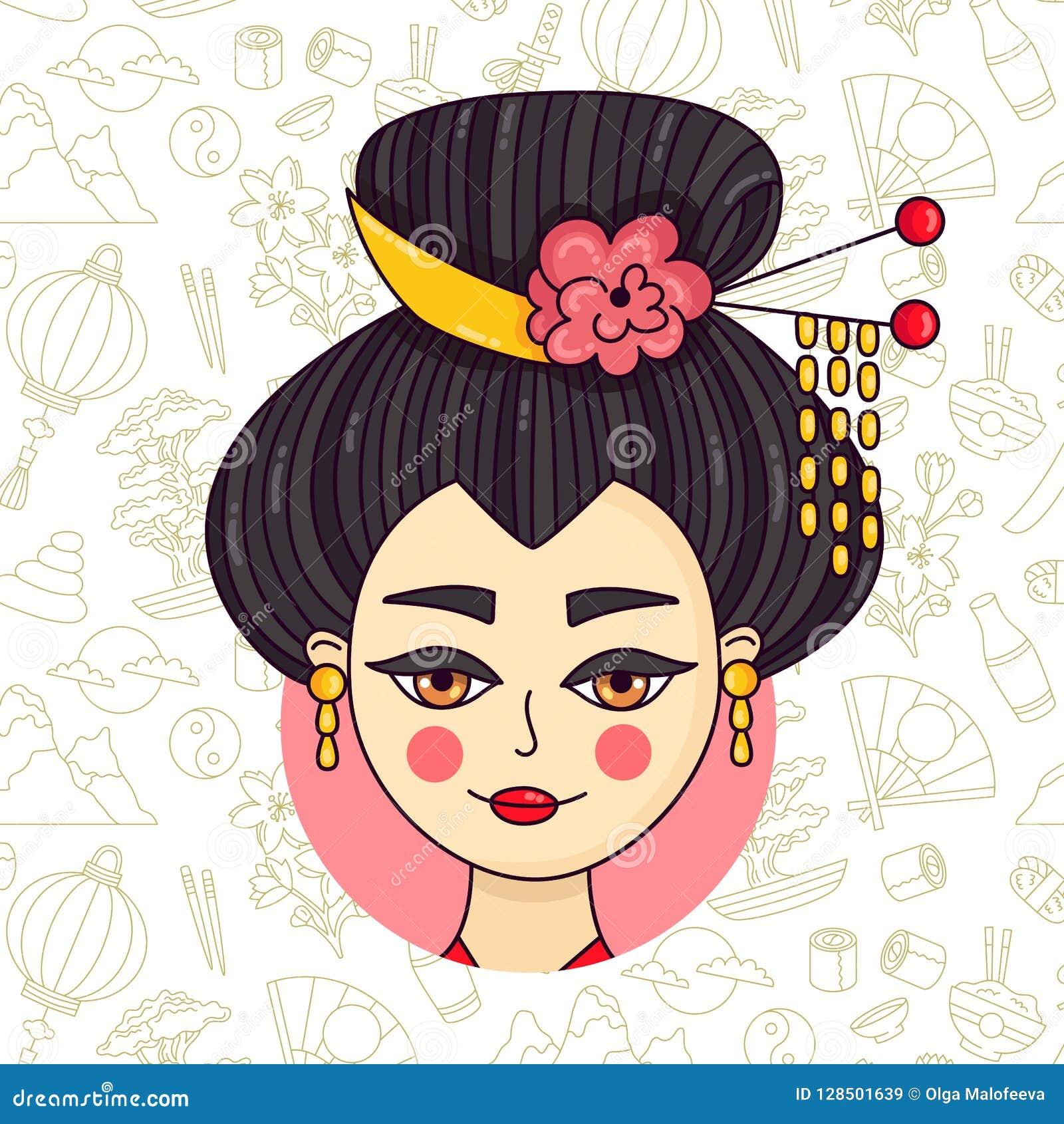 Vector del retrato de la mujer de Japón del garabato del geisha