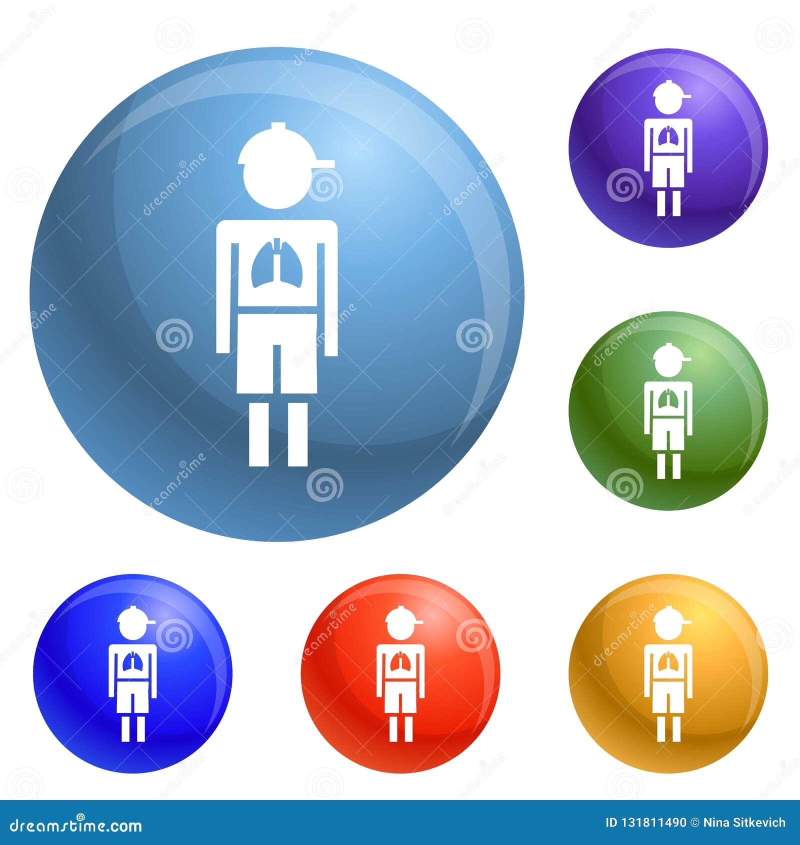 Vector del sistema de los iconos del virus de la pulmonía del muchacho de la muchacha