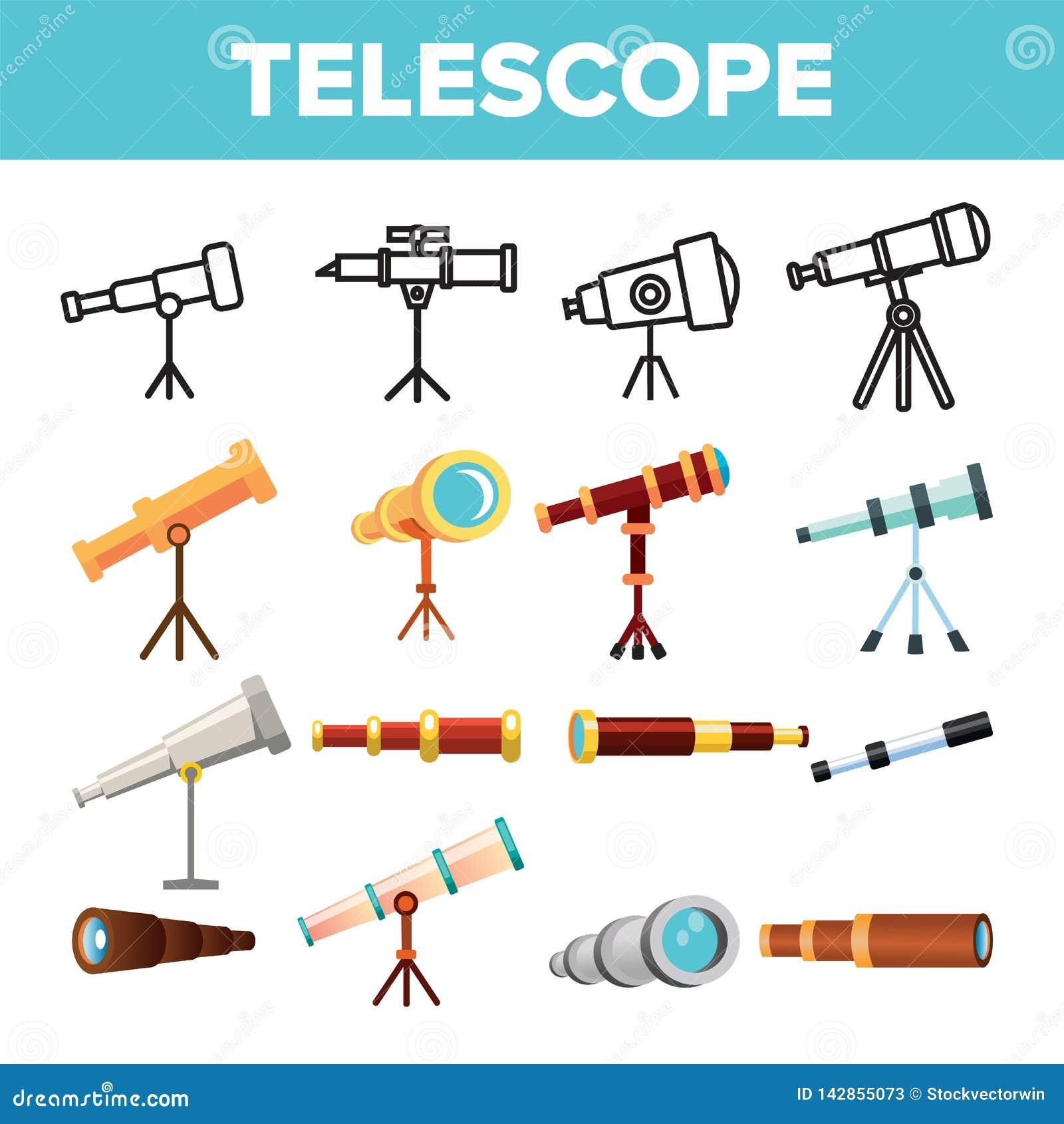 Vector del sistema del icono del telescopio El catalejo descubre la herramienta La ciencia de la astronomía magnifica el instrume