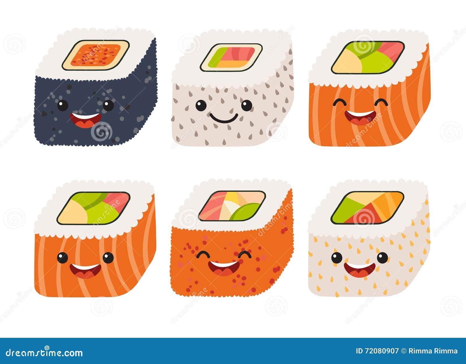 Vector del sushi de la diversión Sushi lindo con las caras lindas Sistema del rollo de sushi Caracteres felices del sushi