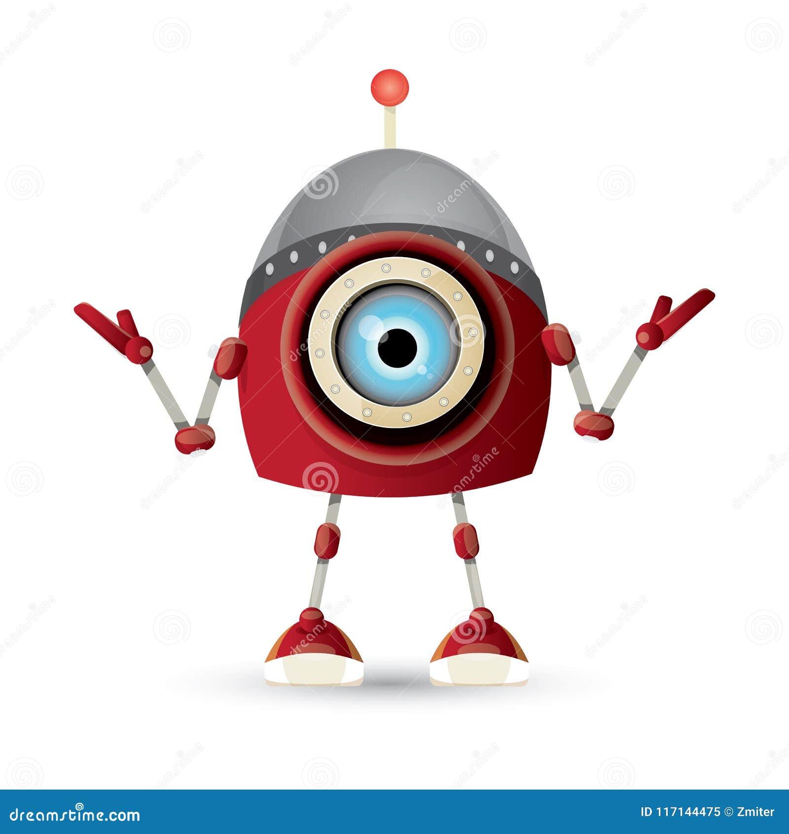 Vector den roten freundlichen Robotercharakter der lustigen Karikatur, der auf weißem Hintergrund lokalisiert wird Scherzt Spielz