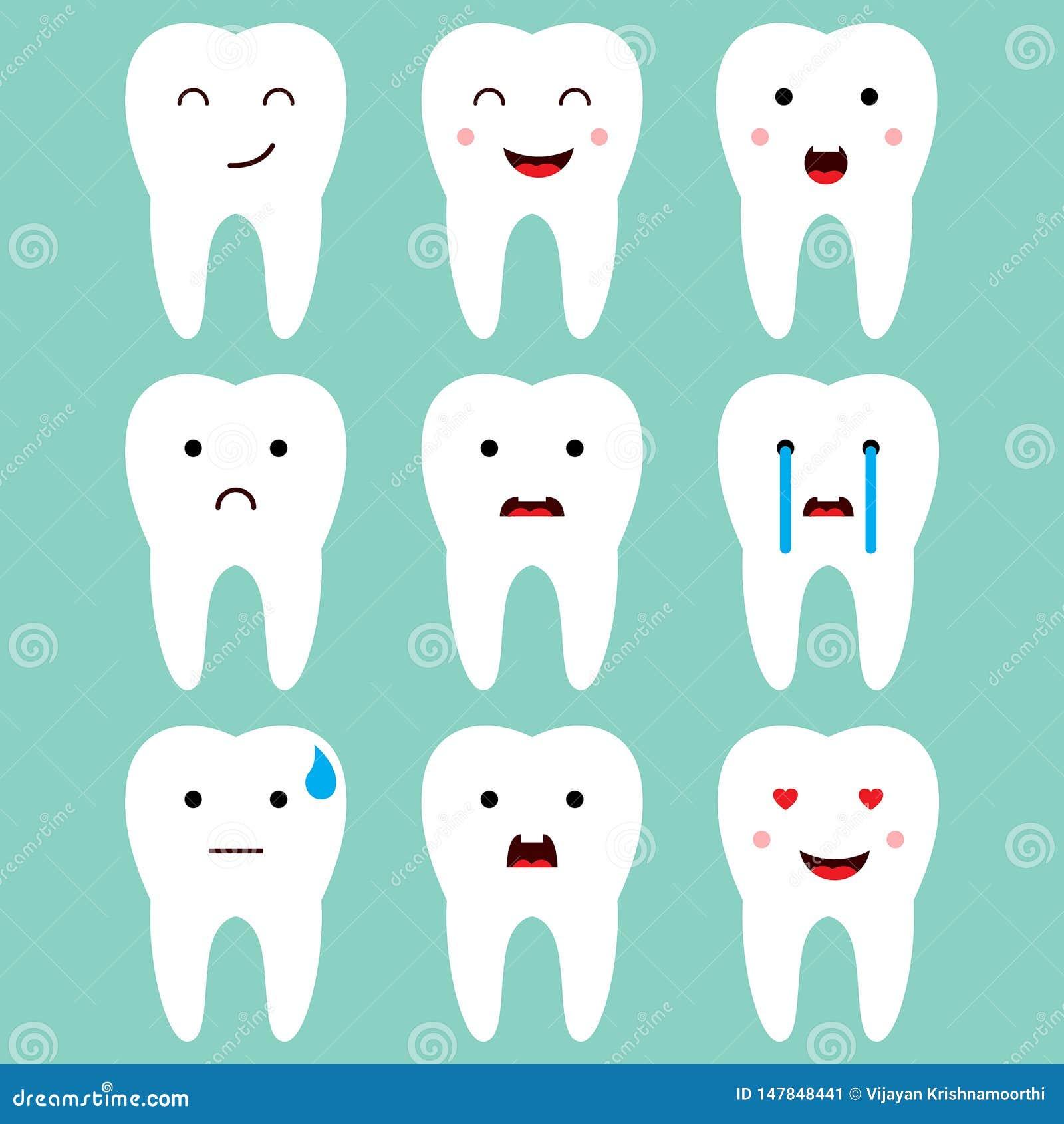 Vector dental lindo de las expresiones de los dientes