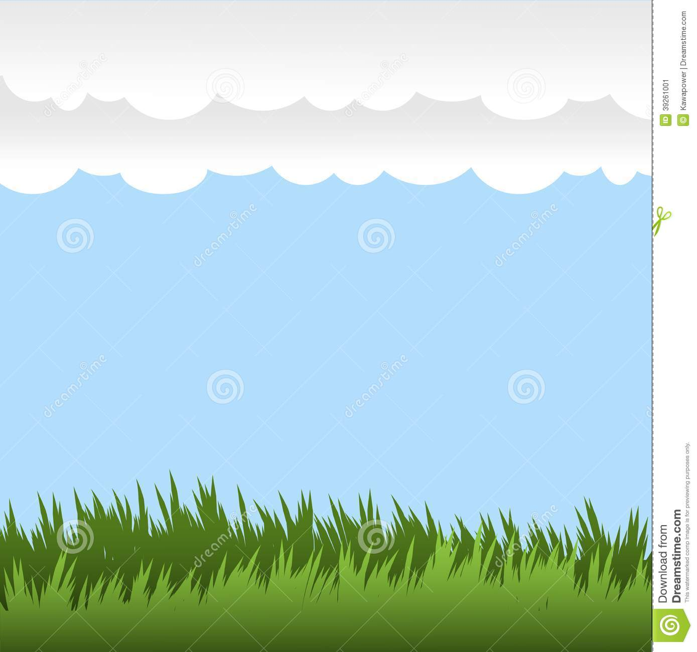 Vector Design Background Elements Grass And Sky Stock Vector