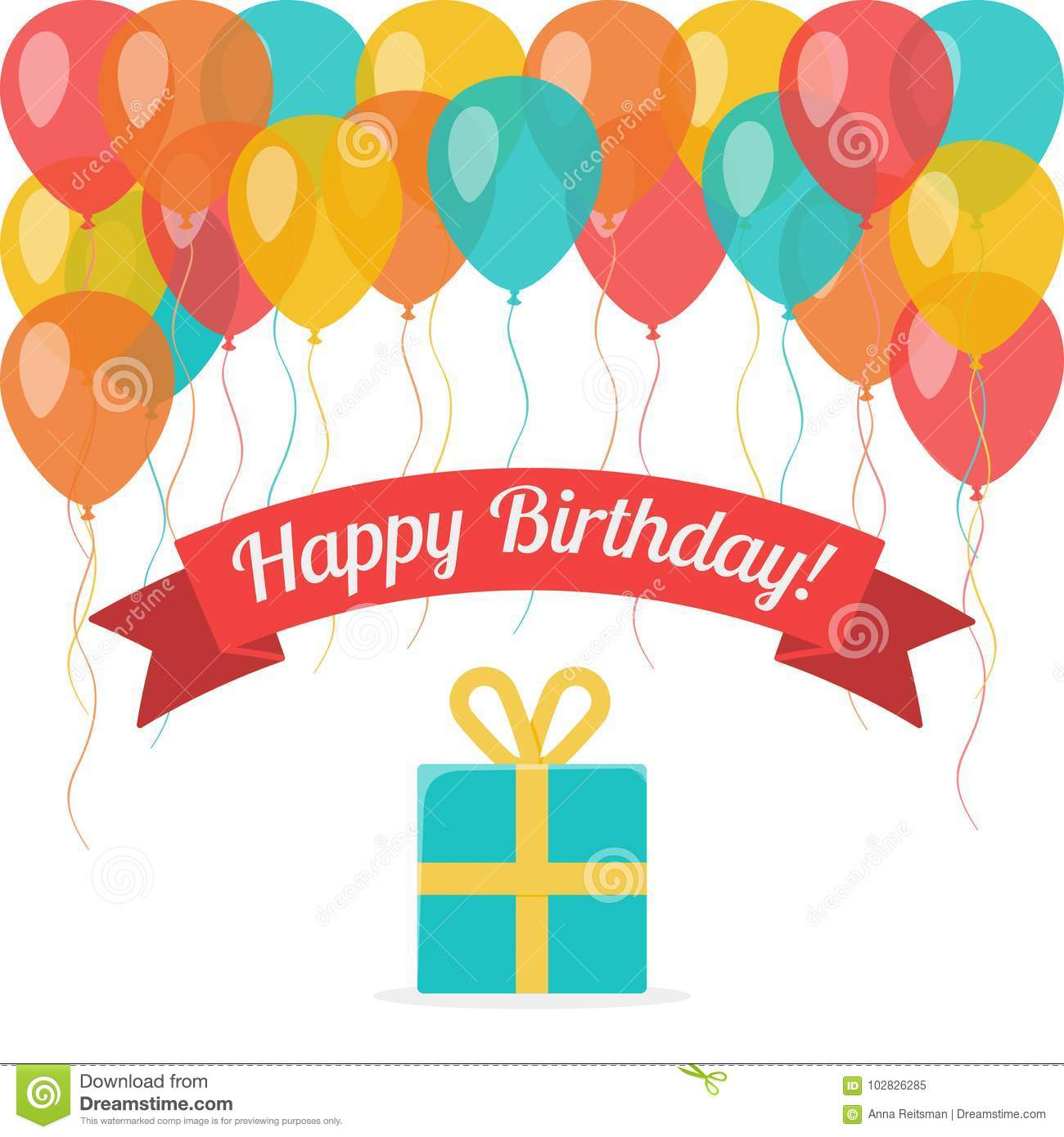 Happy Birthday Greeting Card With Flying Balloons And Gift Box On White Background