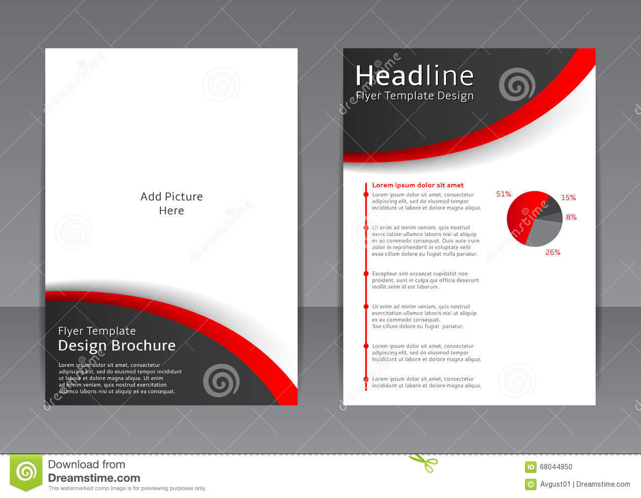 Vector design of the black and white flyer cover for Black brochure template