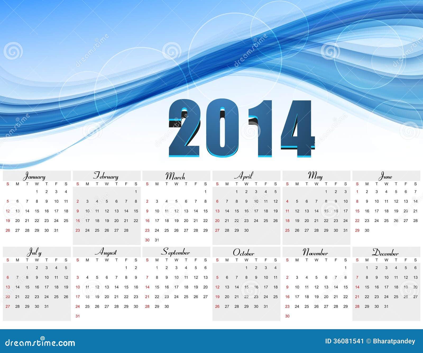 vector design blue colorful wave calendar 2014 stock vector image 36081541