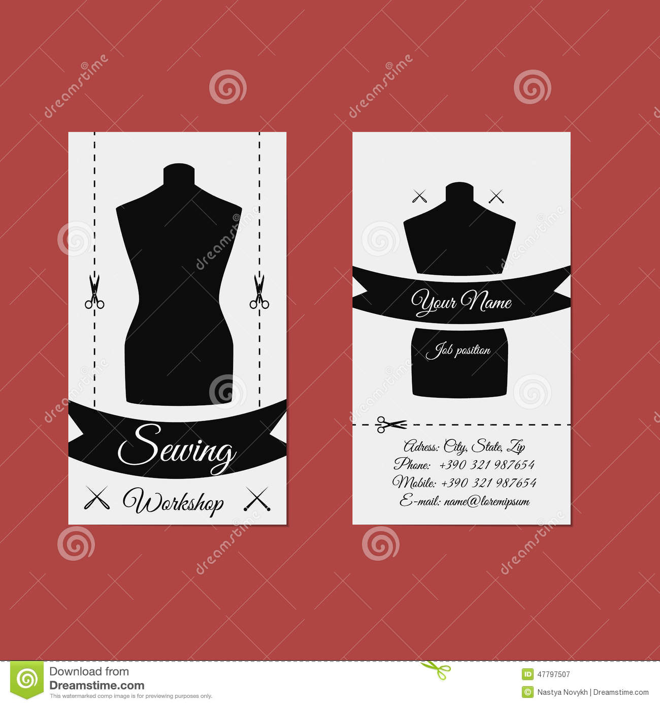 Tailor/ Seamstress Business Card Stock Photo - Image: 49212287