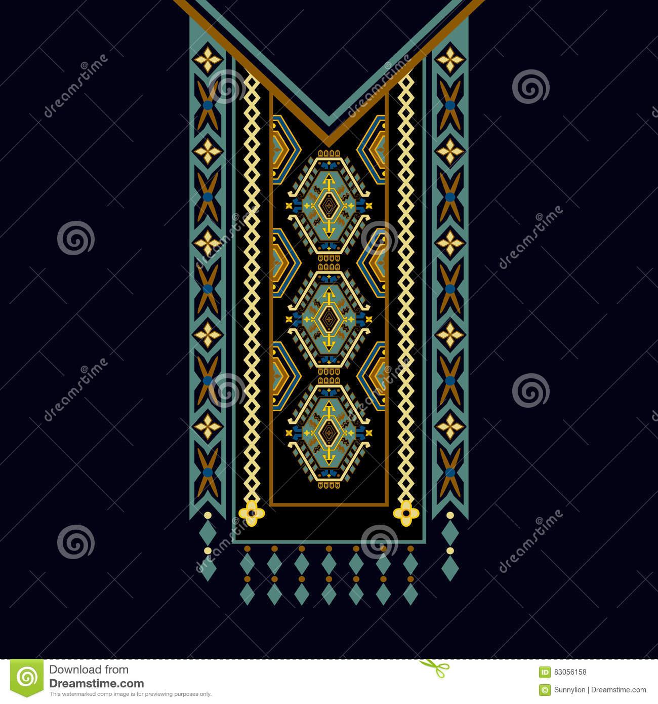 Vector design for collar shirts, , blouses, T-shirt. Two colors ethnic flowers neck. Paisley decorative border