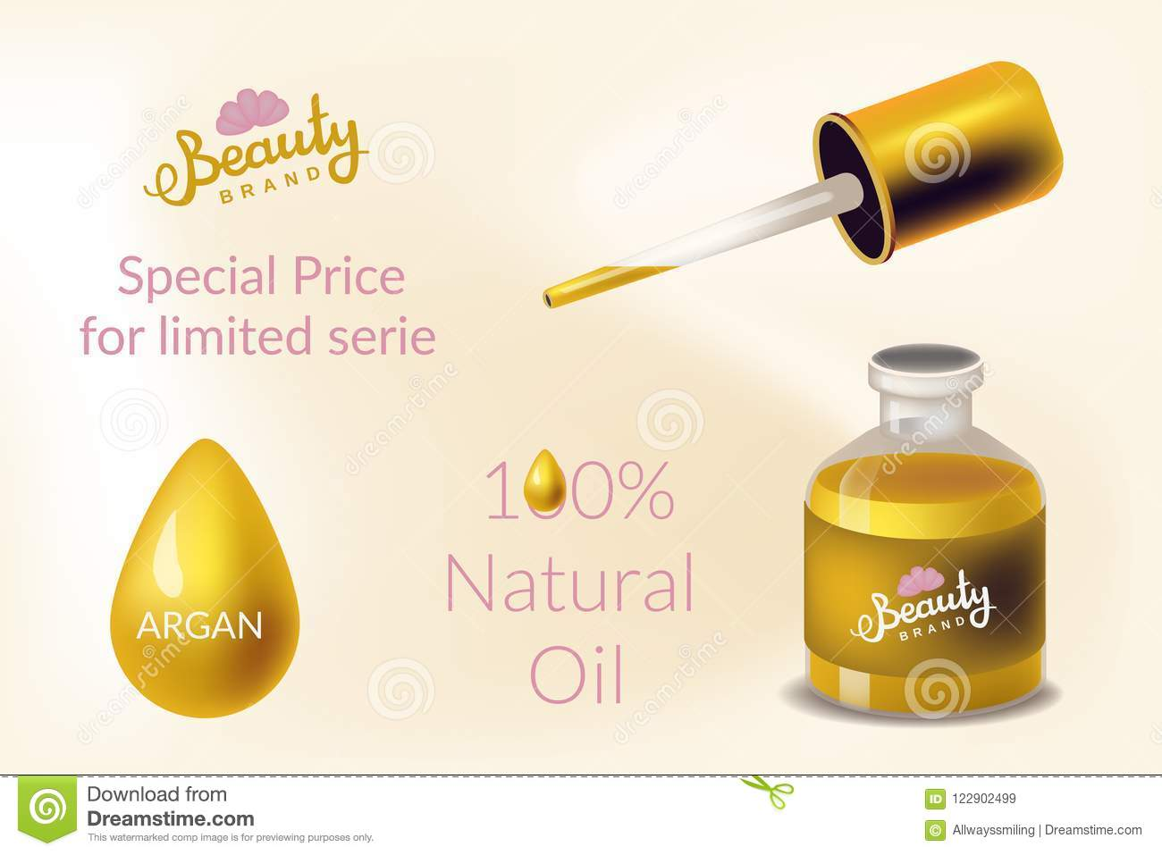 Vector Design Concept In Realism Style With Cosmetic With Argan Oil Stock Vector Illustration Of Aroma Applying 122902499