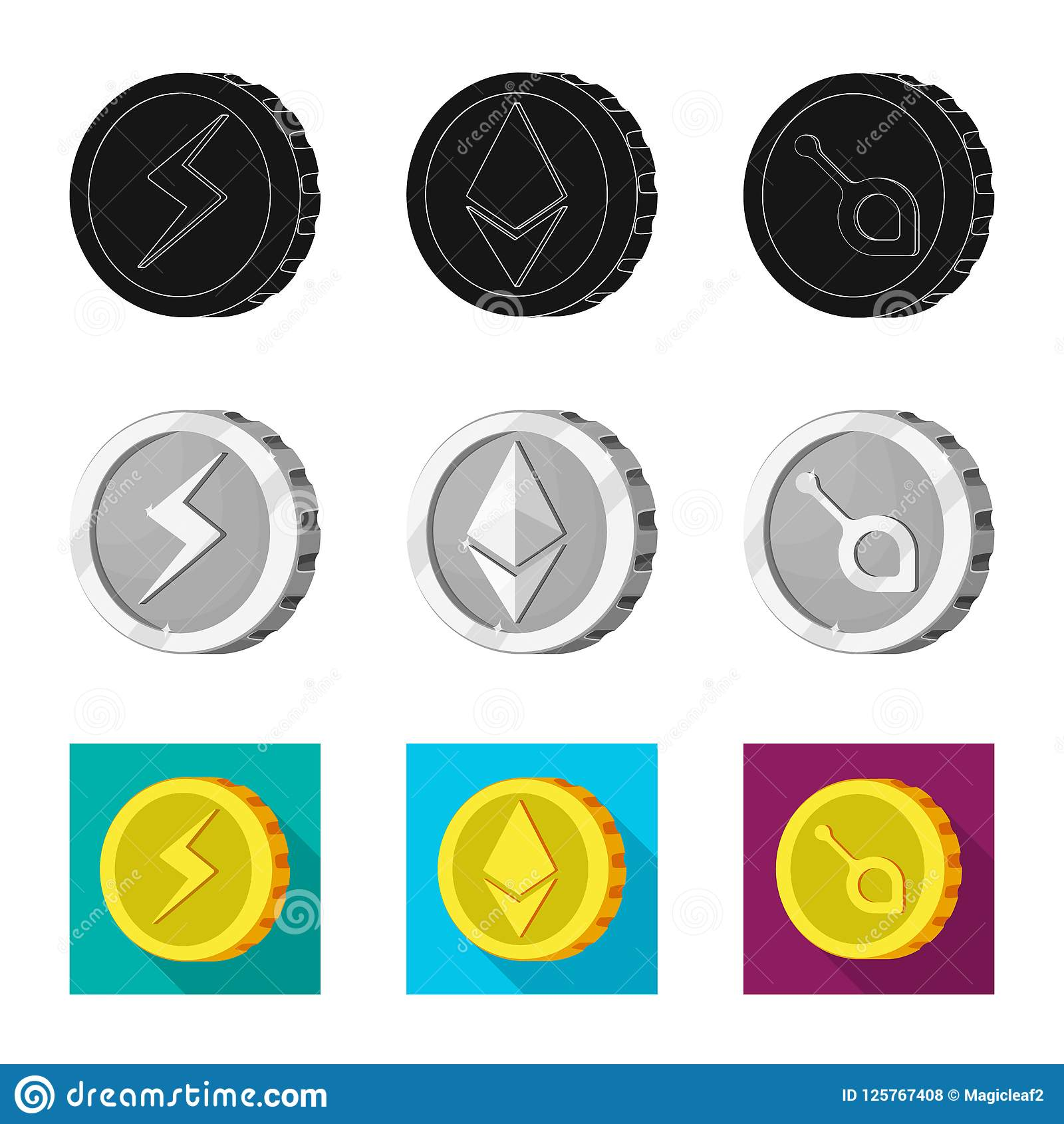 Isolated Object Of Cryptocurrency And Coin Symbol Collection Of