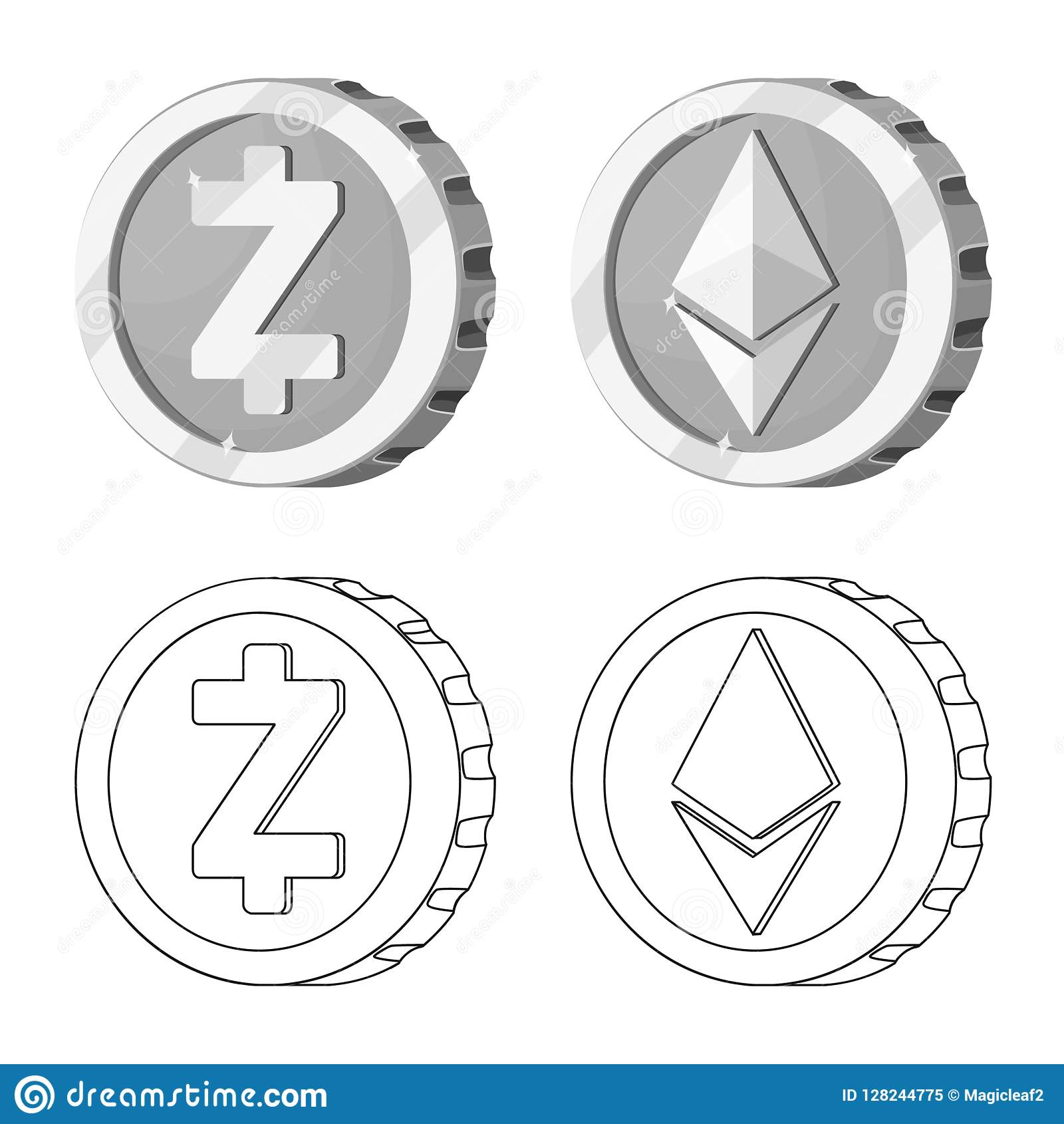 Isolated Object Of Cryptocurrency And Coin Icon Set Of