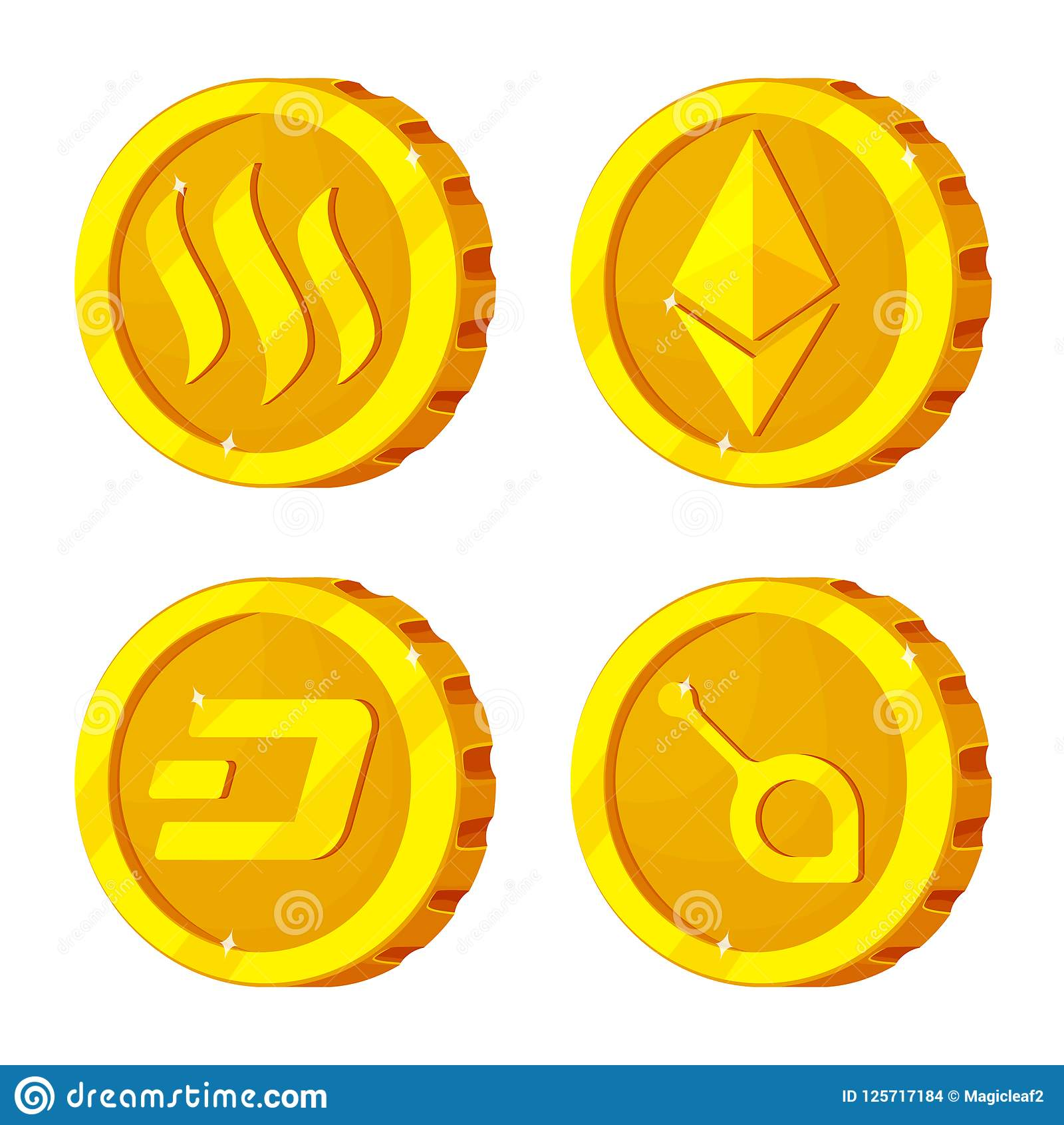 Vector Design Of Cryptocurrency And Coin Symbol Set Of