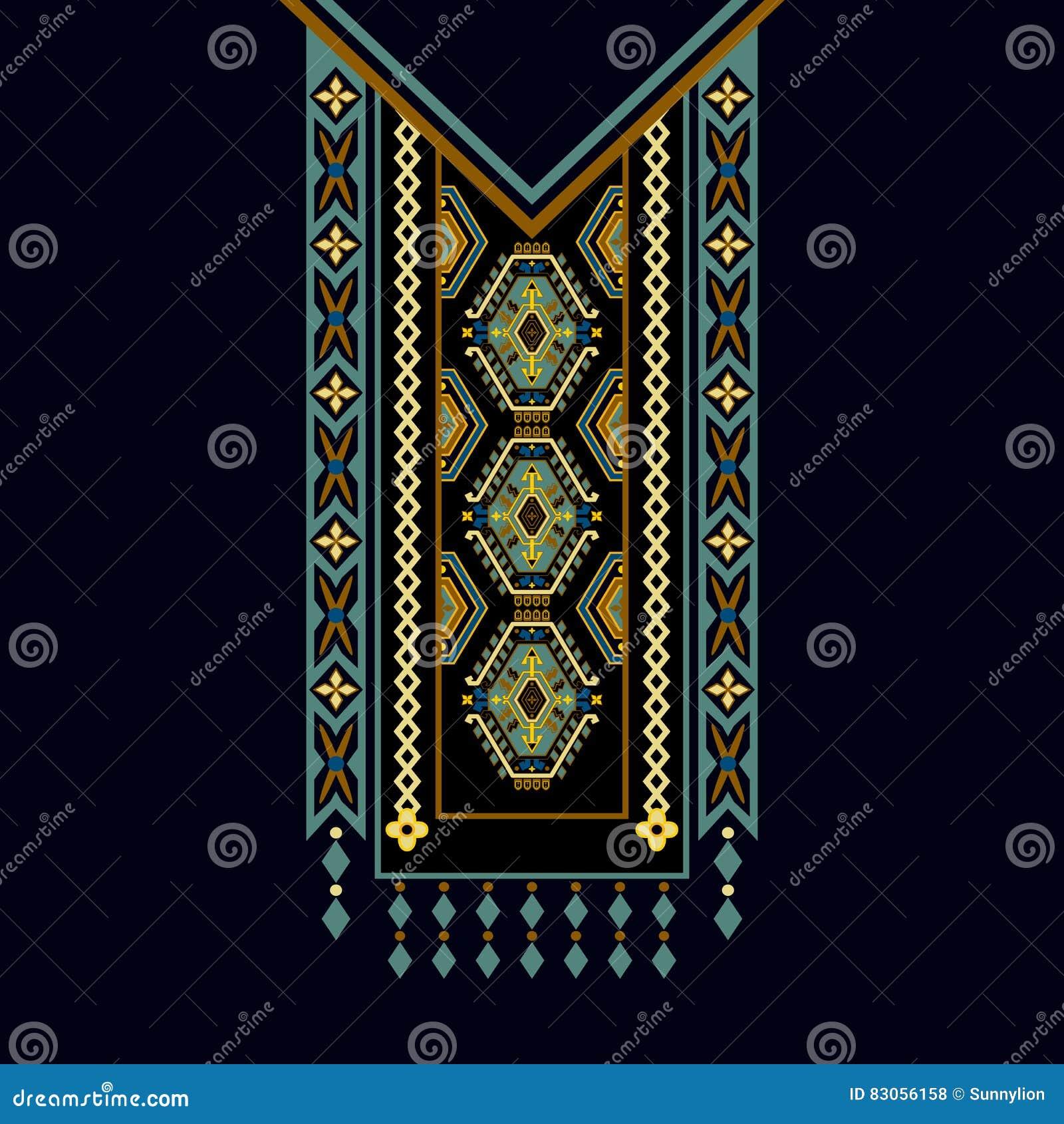 Vector Design für Kragenhemden, Blusen, T-Shirt Hals mit zwei Farbethnischer Blumen Dekorative Grenze Paisleys