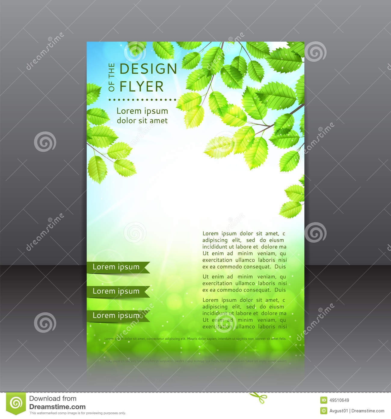 Vector Design Of The Flyer With Leaves And Sun Stock
