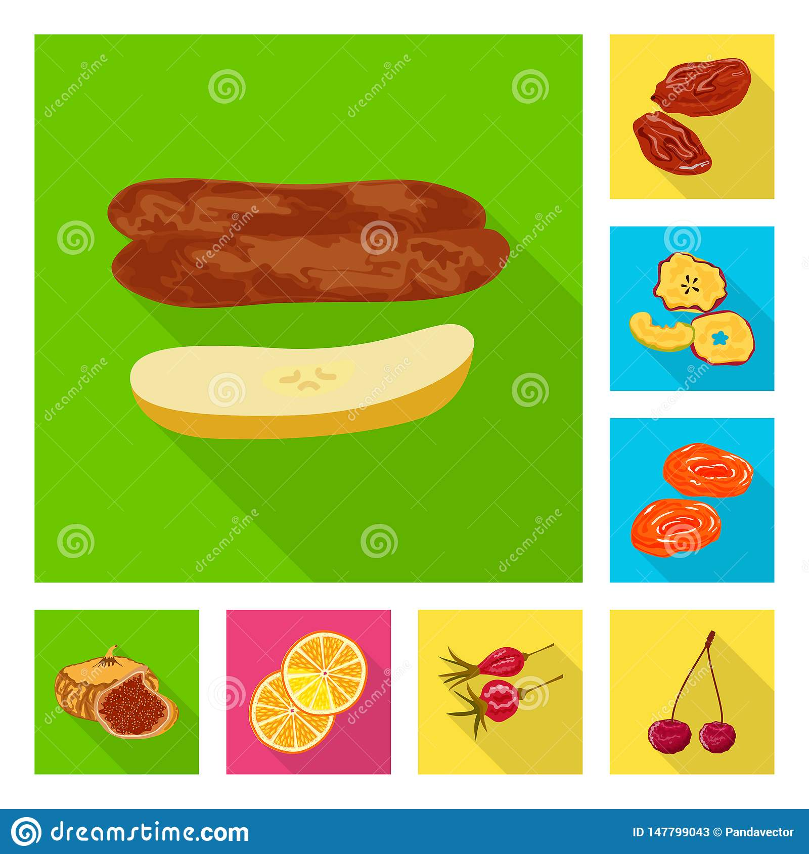 Isolated object of fruit and dried logo. Set of fruit and food vector icon for stock.