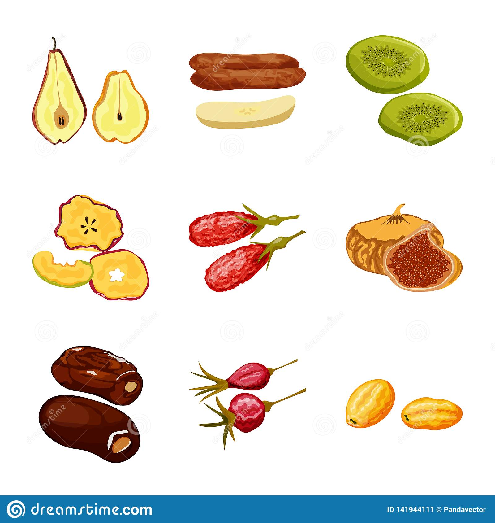 Isolated object of fruit and dried symbol. Set of fruit and food vector icon for stock.