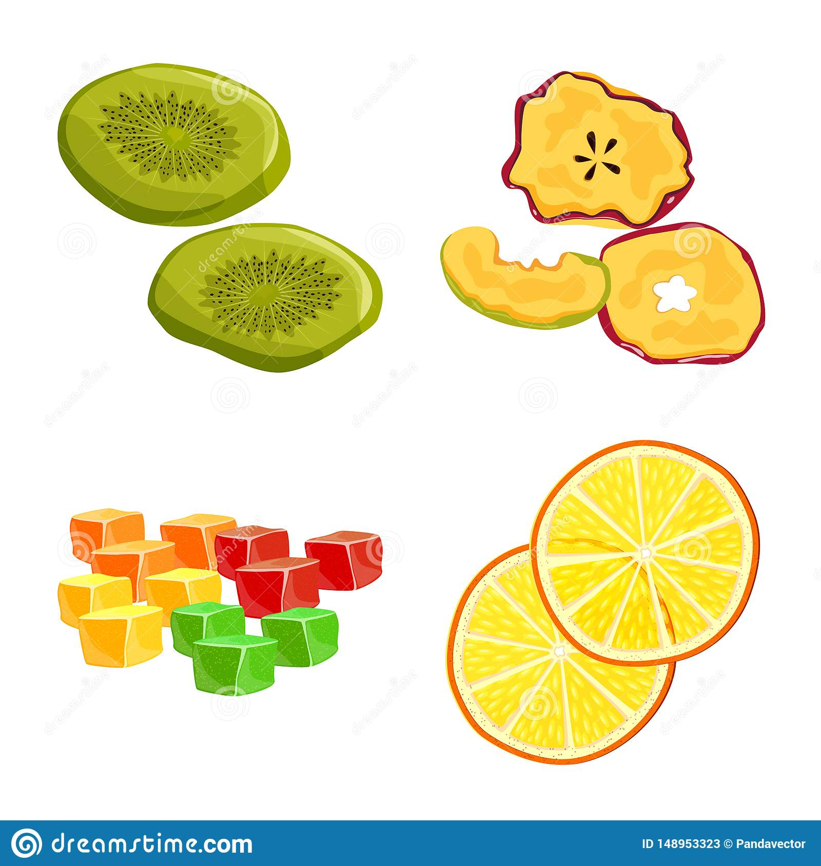 Isolated object of fruit and dried icon. Collection of fruit and food vector icon for stock.