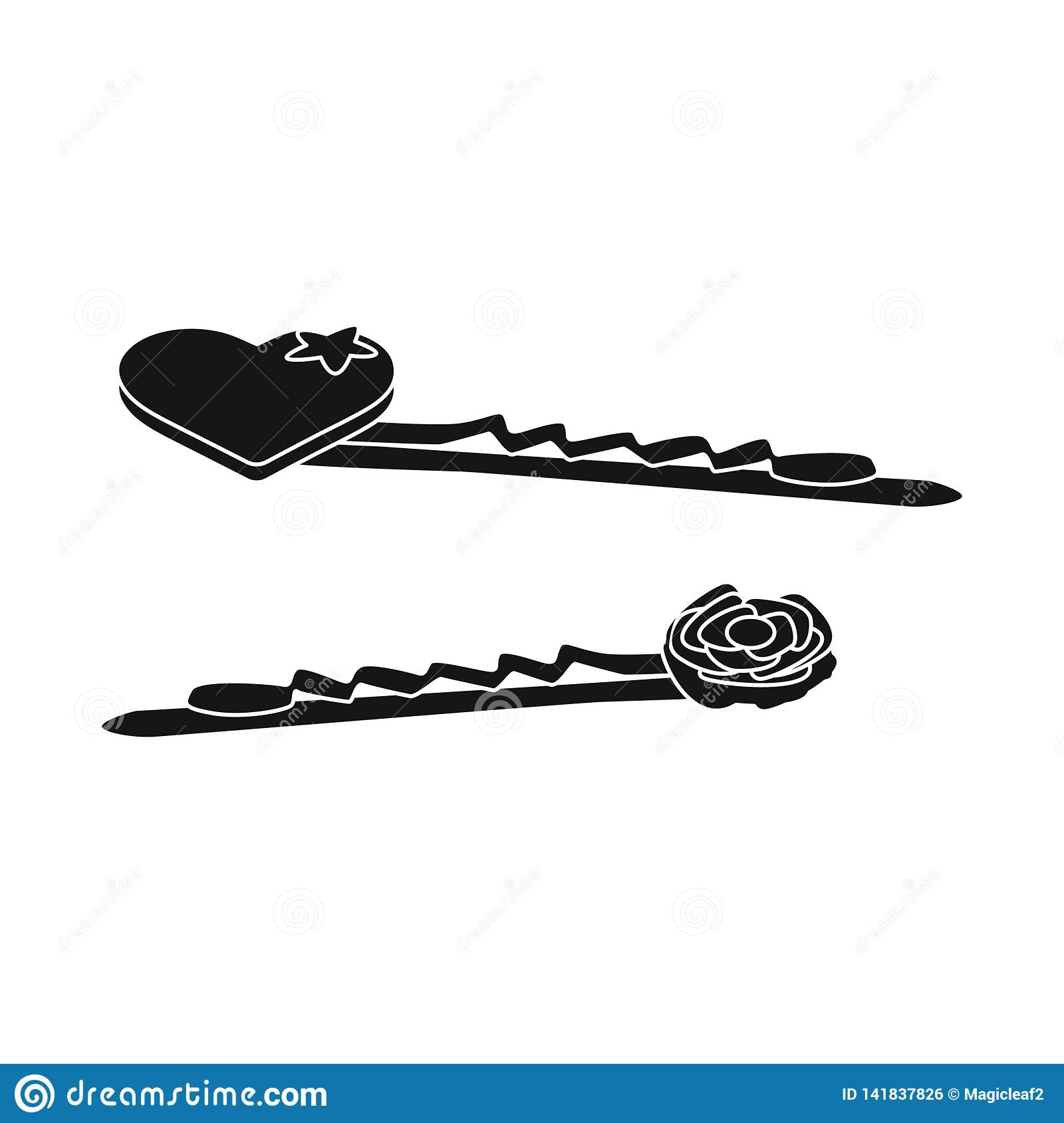 Vector design of hairgrip and heart icon. Collection of hairgrip and hairdo vector icon for stock.