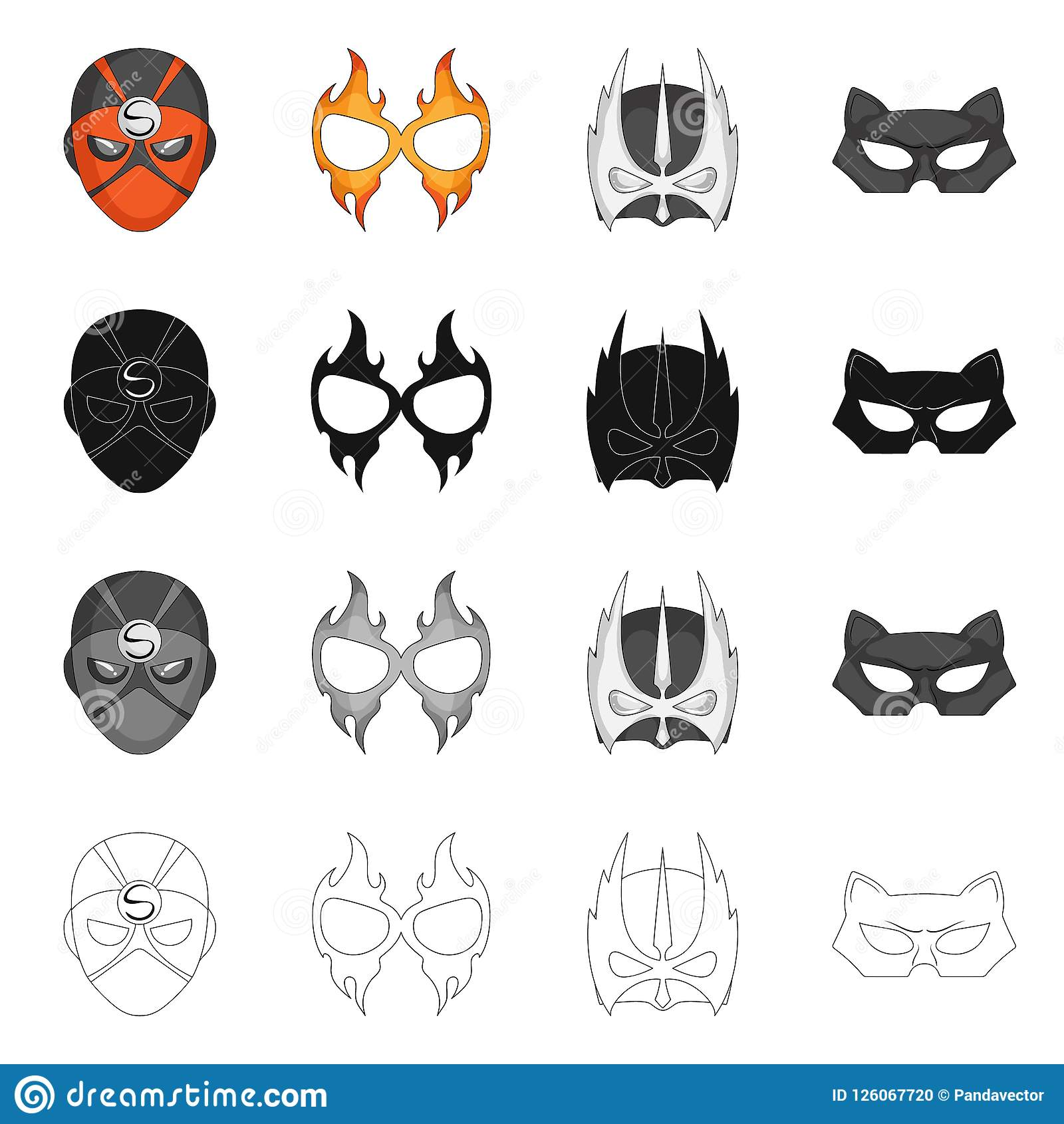 Isolated Object Of Hero And Mask Symbol Collection Of Hero And