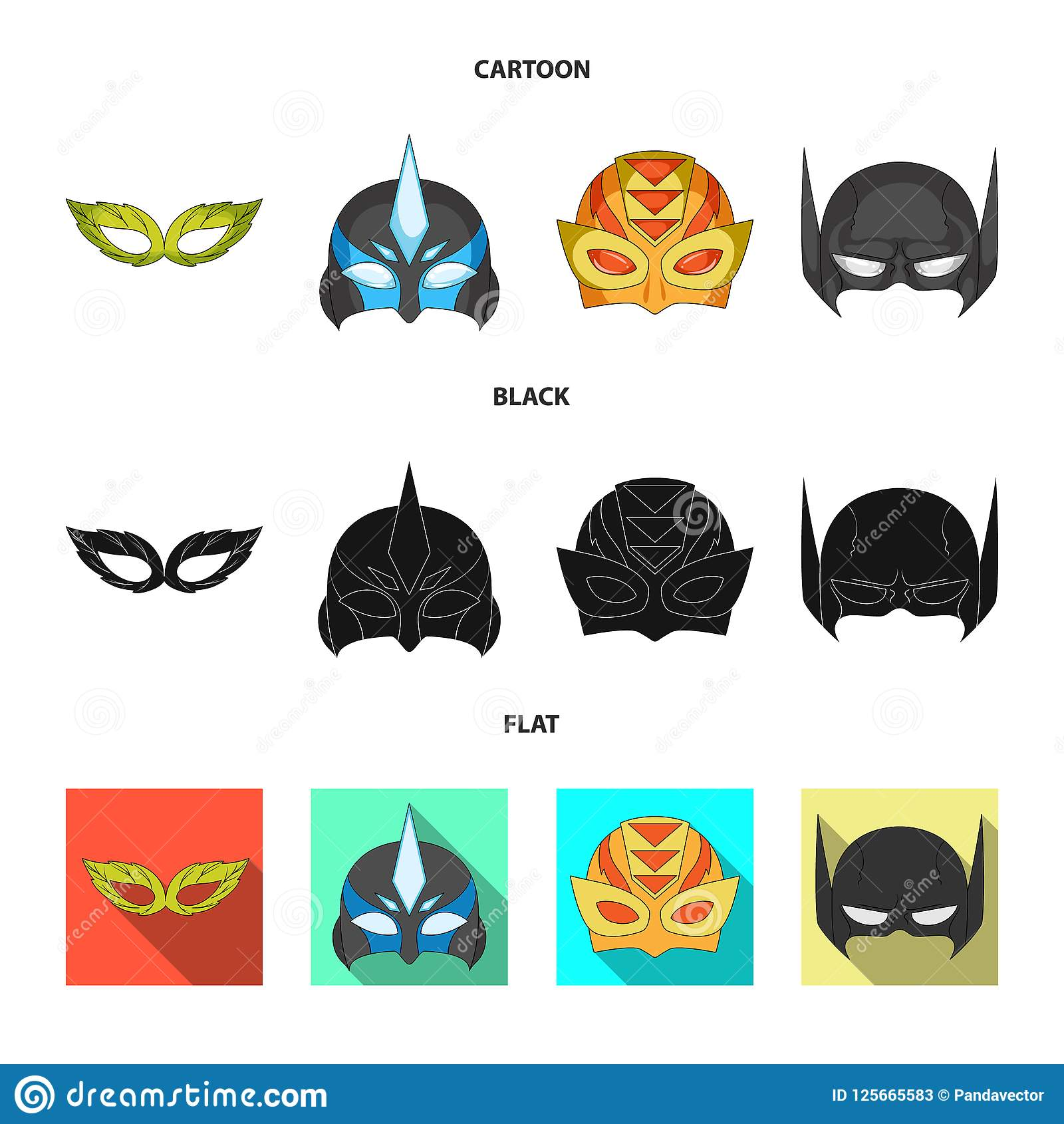 Isolated Object Of Hero And Mask Icon Set Of Hero And Superhero