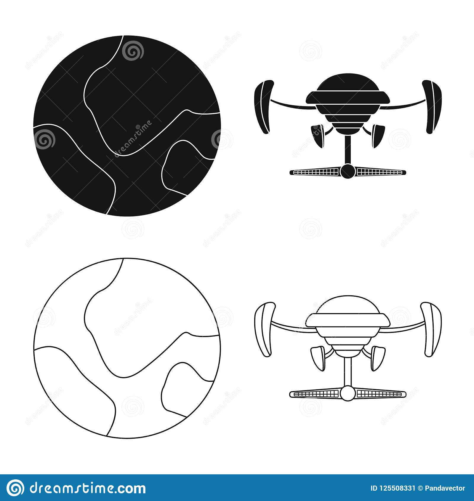 Vector Design Of Mars And Space Icon Set Of Mars And Planet Stock