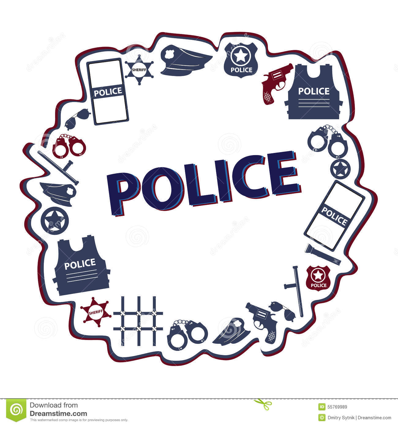 Vector Design Police Symbols In Round Form With Dark Colors Stock
