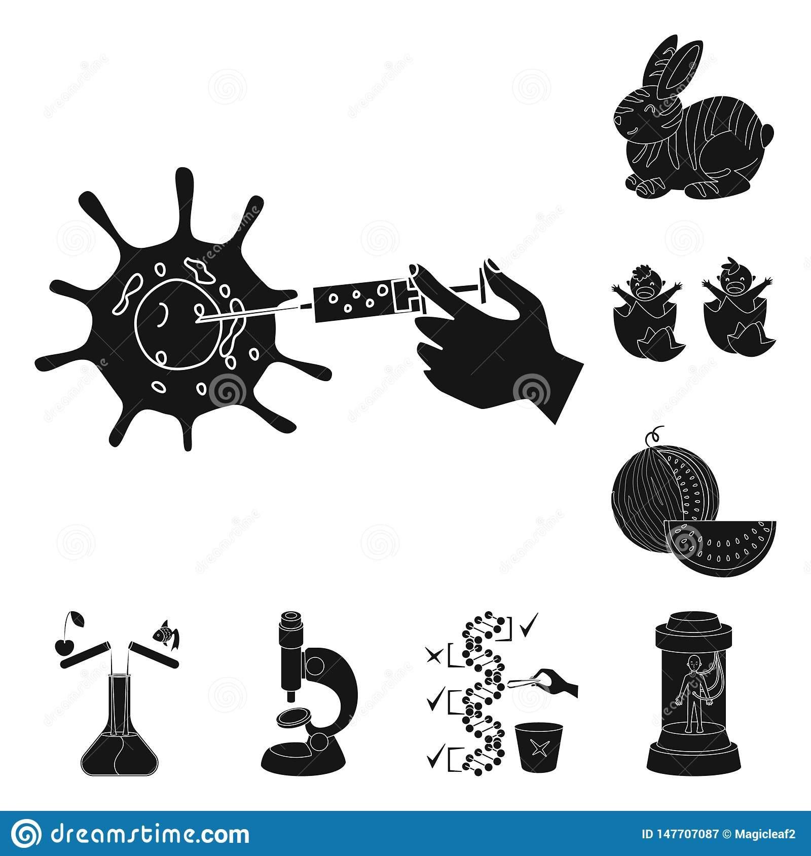 Vector design of quality and laboratory icon. Collection of quality and genetically stock vector illustration.