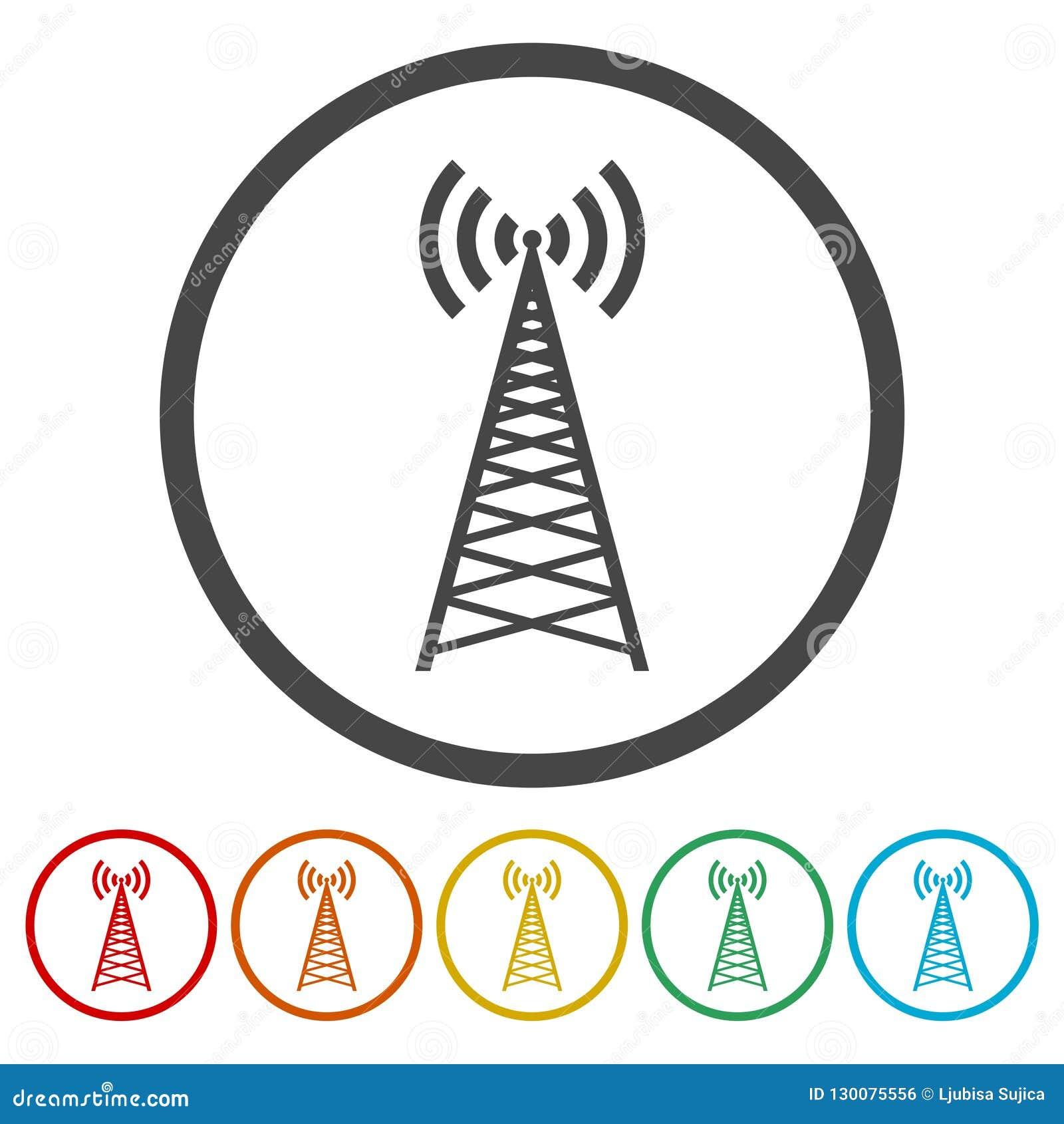 Vector Design Of Radio Tower Broadcast Icon Stock Vector