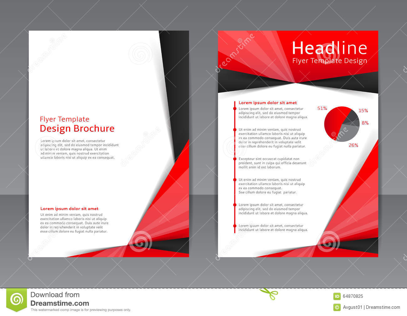 Vector design of the red and black flyer cover brochure for Red brochure template