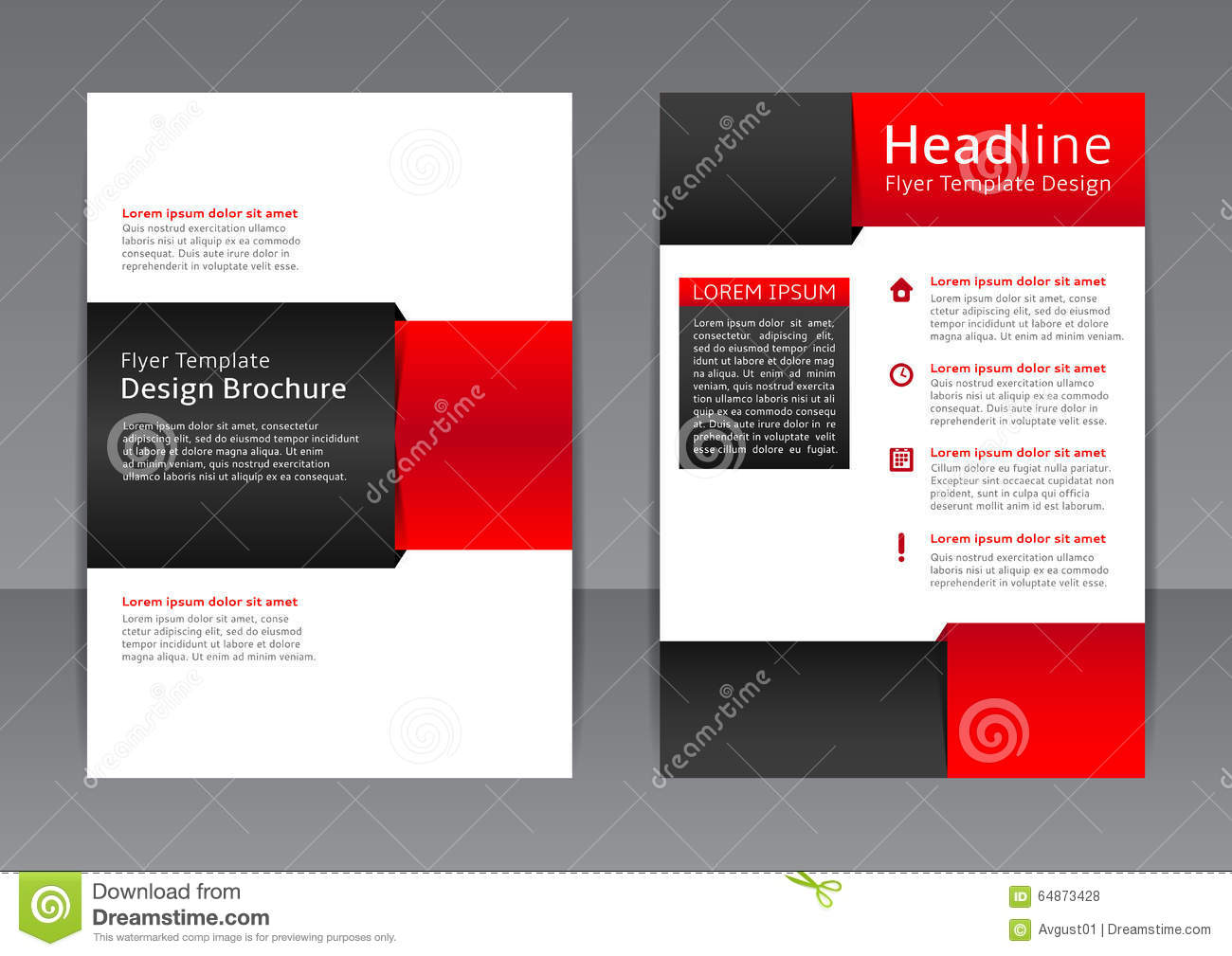 Vector design of the red and black flyer cover brochure for Black brochure template