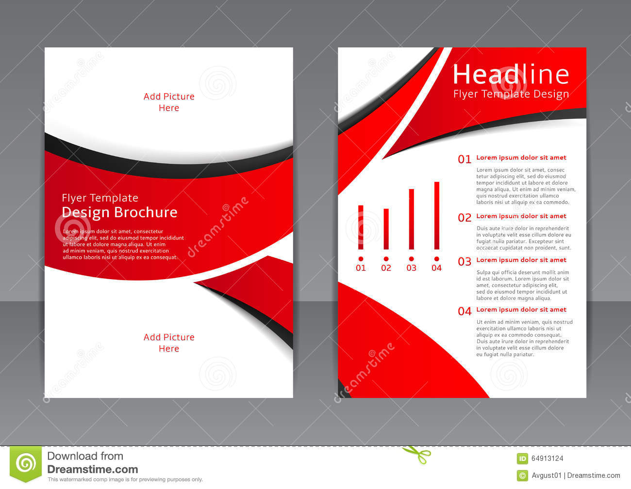 Vector design of the red flyer cover brochure poster for Red brochure template