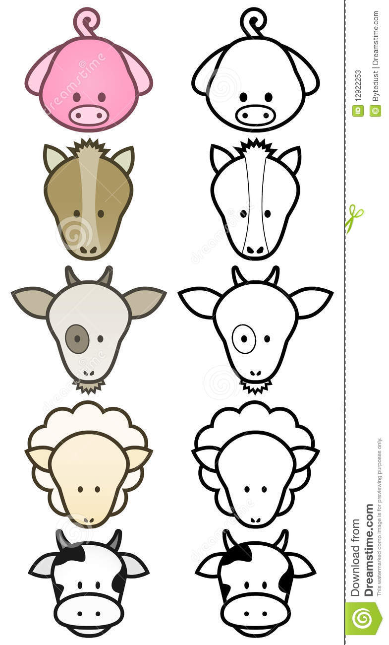 Simple Line Drawings Of Farm Animals : Vector design set of cartoon farm animals stock