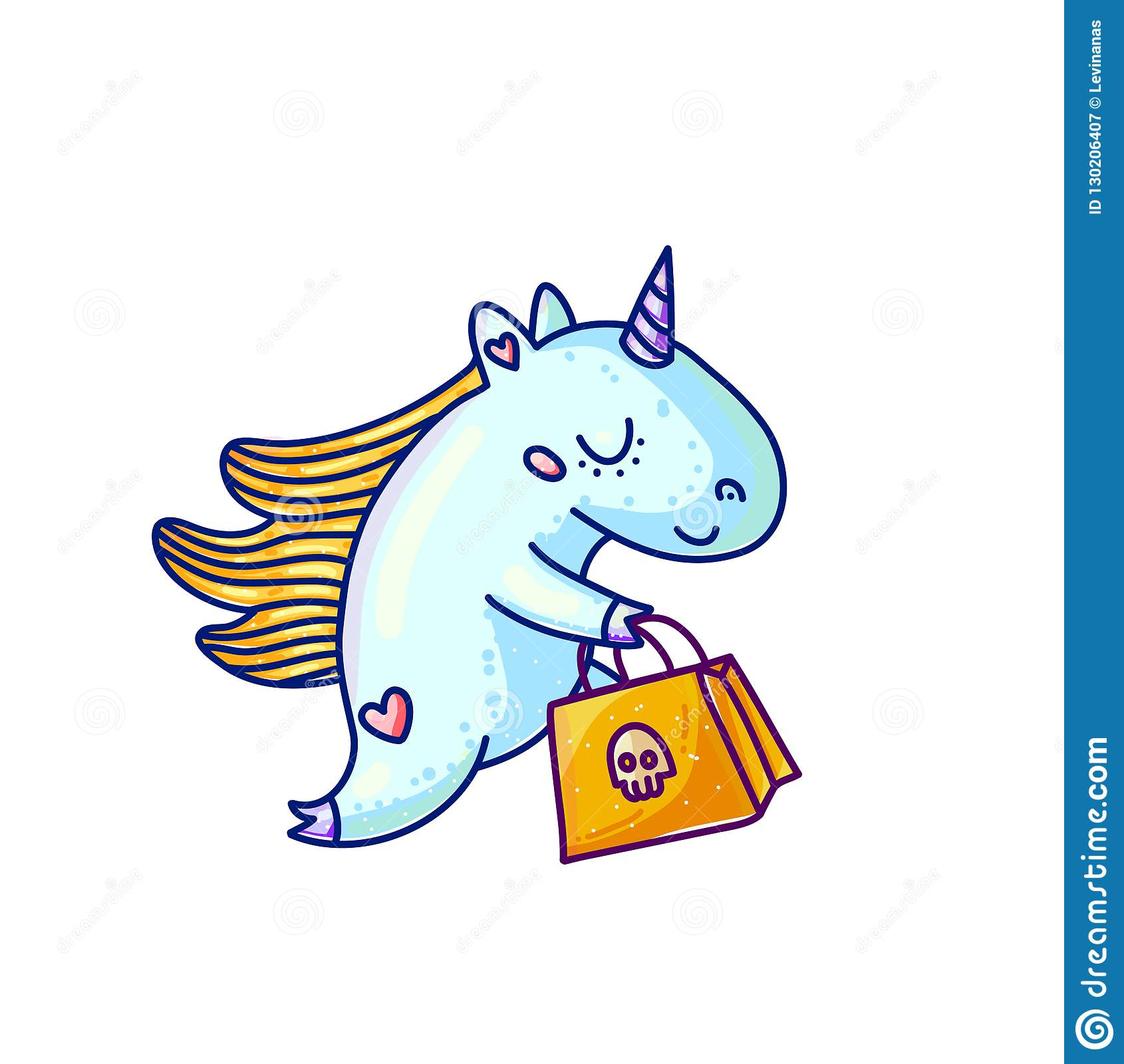 Charming Unicorn With Halloween Shopping Stock Vector