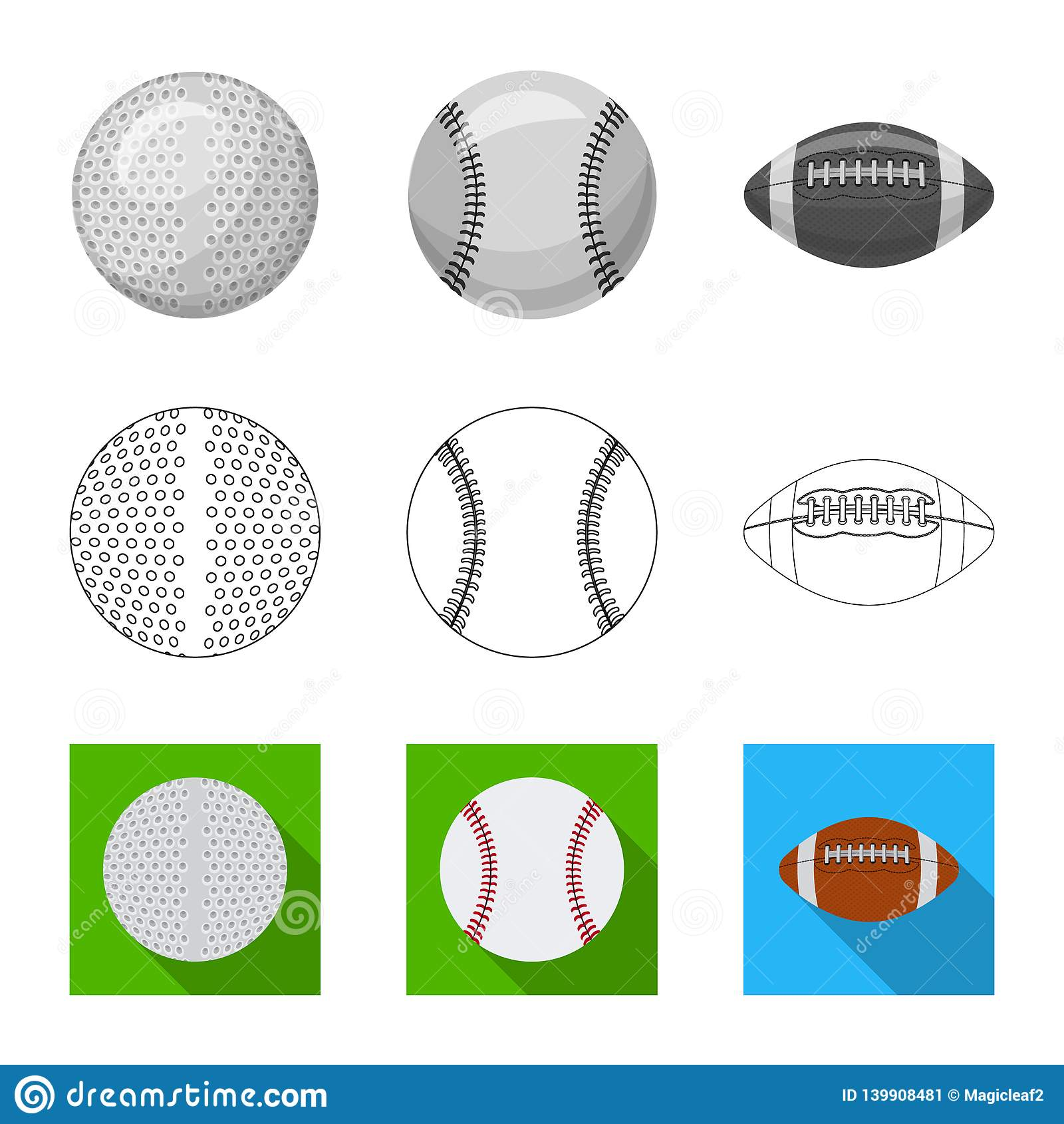 Vector design of sport and ball logo. Set of sport and athletic vector icon for stock.