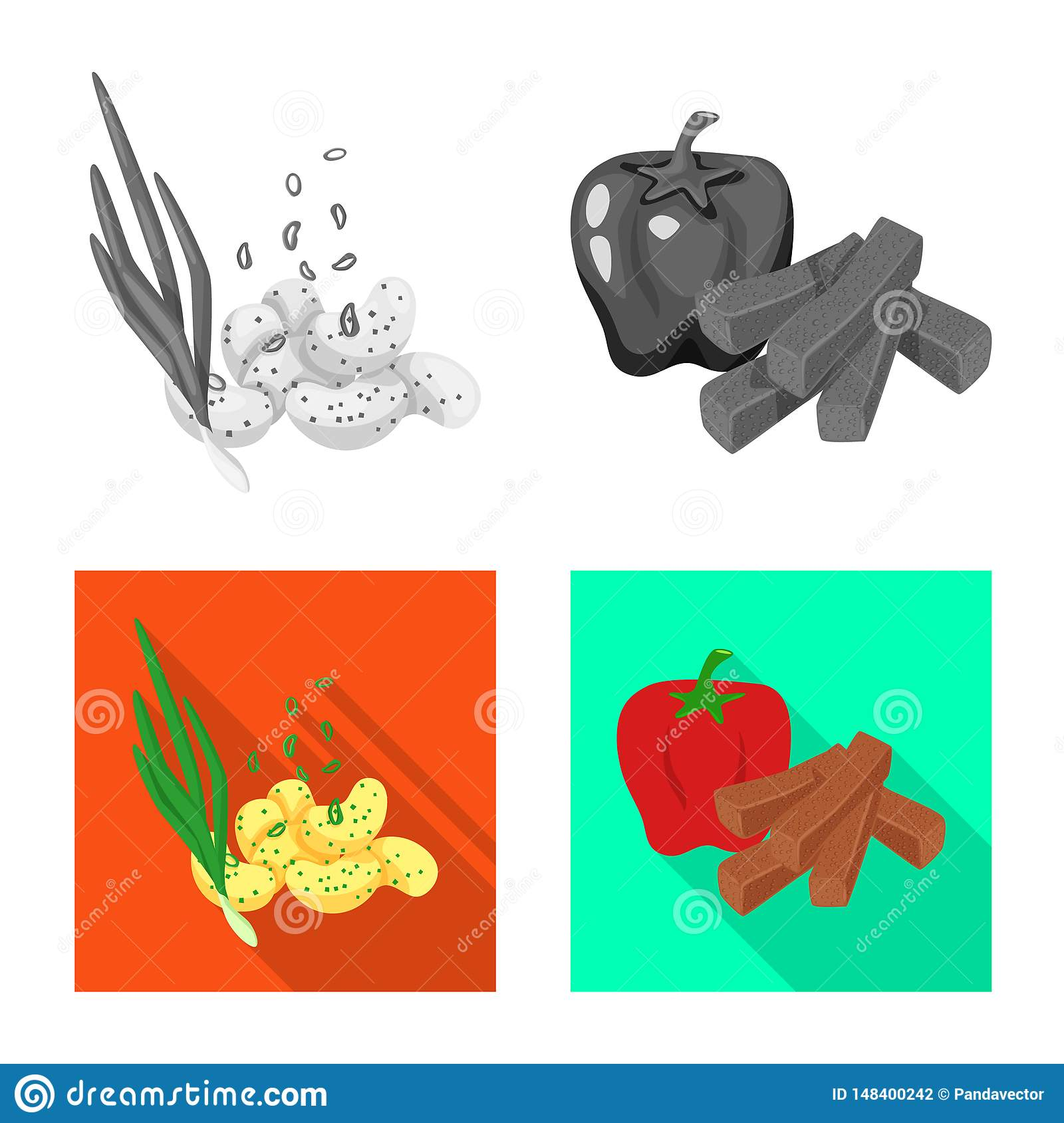 Isolated object of taste and seasonin symbol. Collection of taste and organic stock symbol for web.