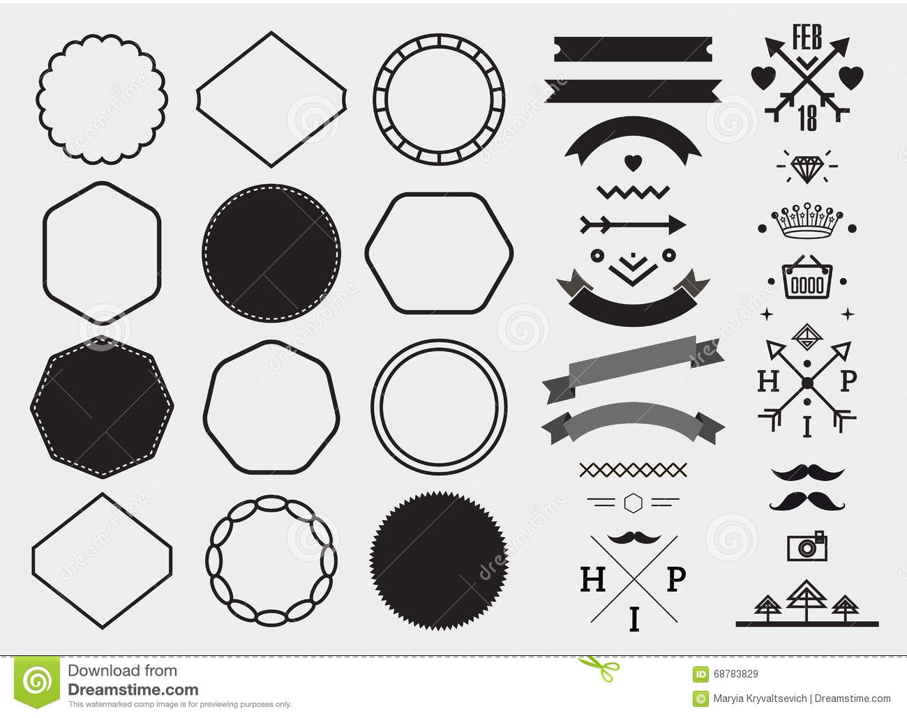 Download Vector Design Template Set Collection For Making Badge Logo Stamp Stock