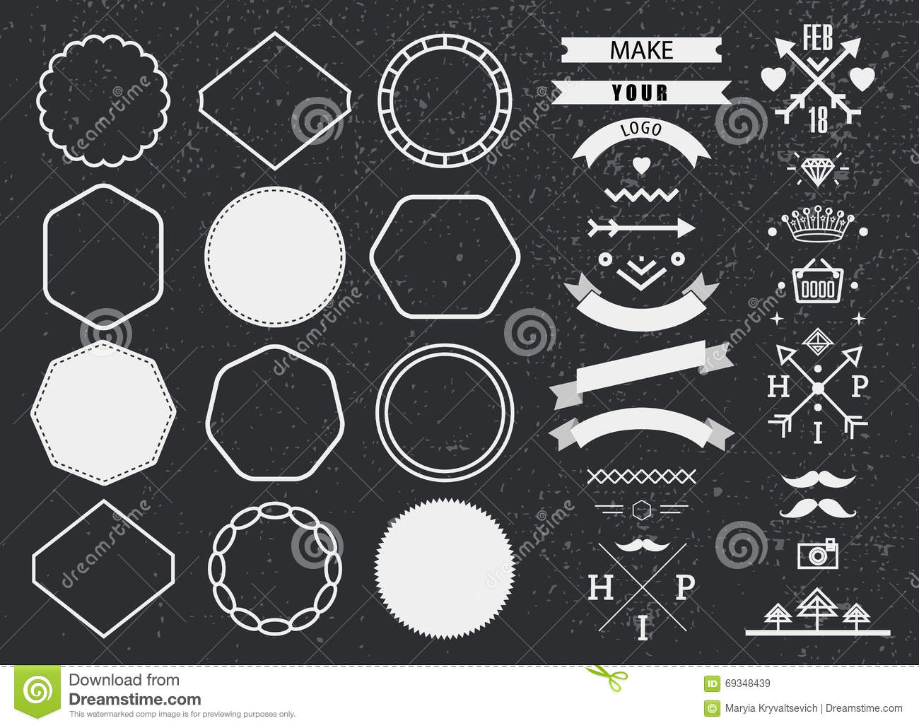Vector Design Template Set, Collection For Making Badge, Logo, Stamp ...