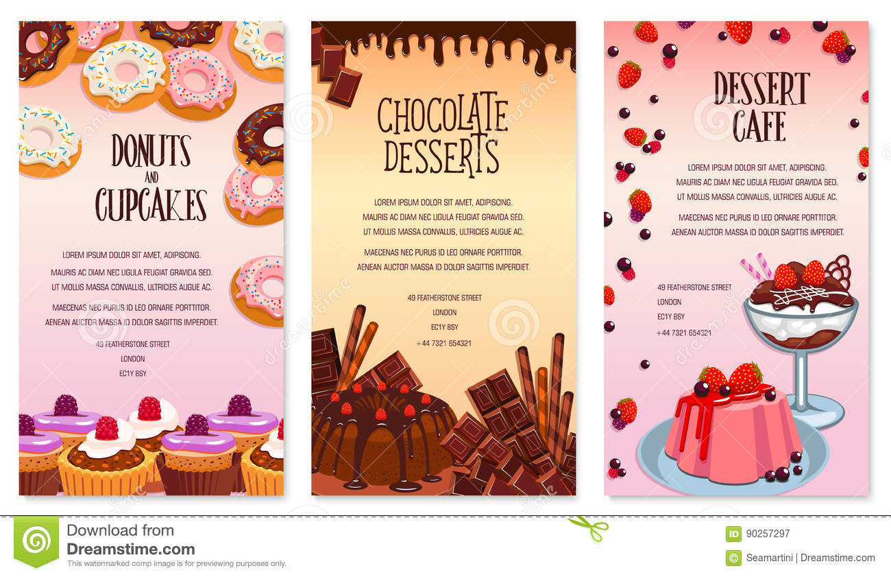 vector desserts menu template for bakery or cafe stock vector