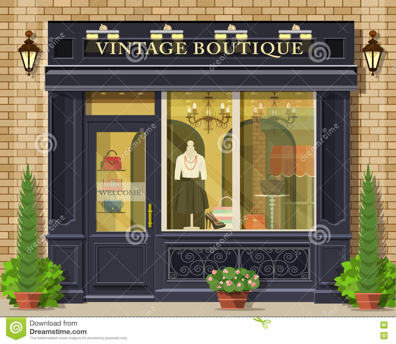 Vector Detailed Flat Design Vintage Boutique Facade Cool Graphic Fashion Shop Exterior Stock