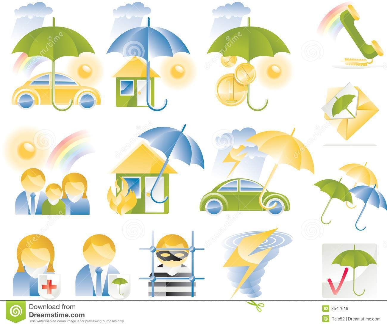 Vector Detailed Insurance Icons Stock Image 8547619