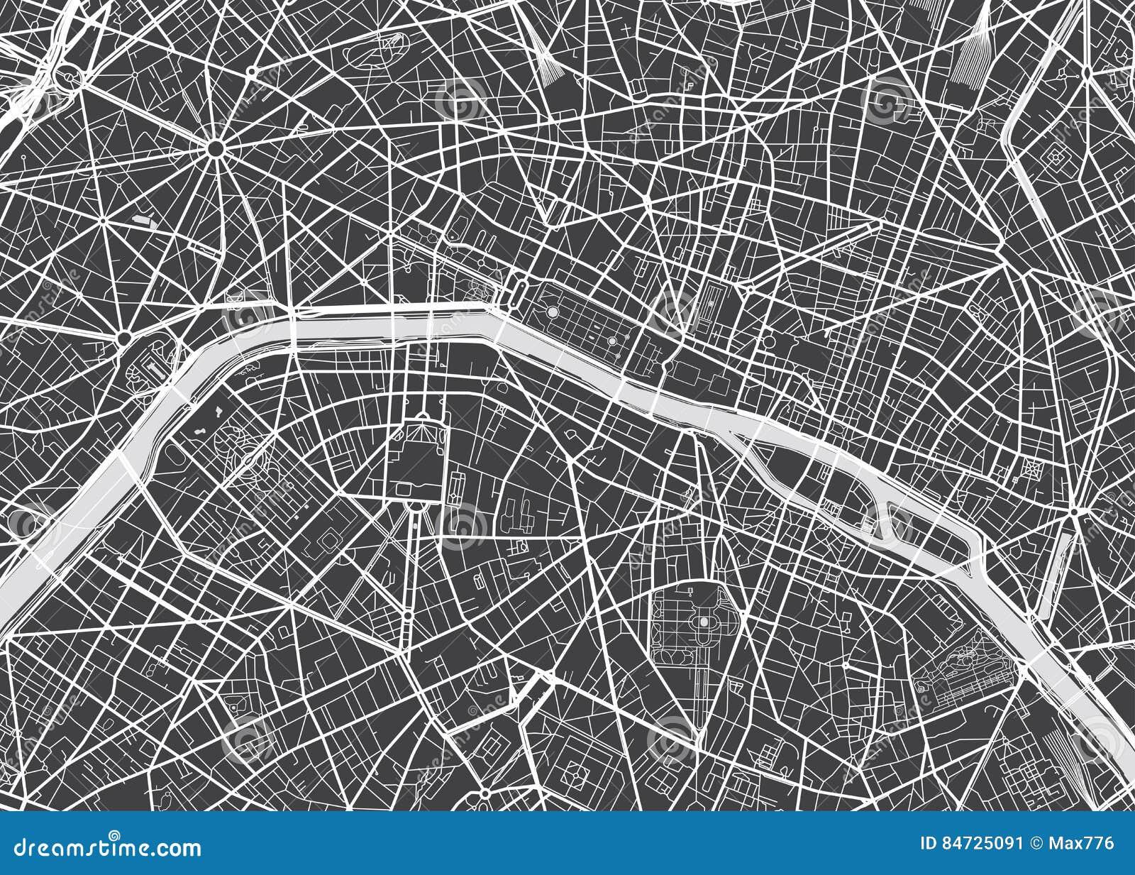 Paris Map Black And White.Vector Detailed Map Paris Stock Vector Illustration Of Metropolis
