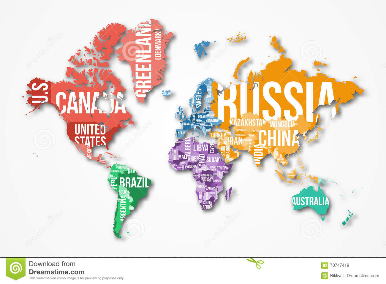 Vector Detailed World Map With Borders And Country Names Stock