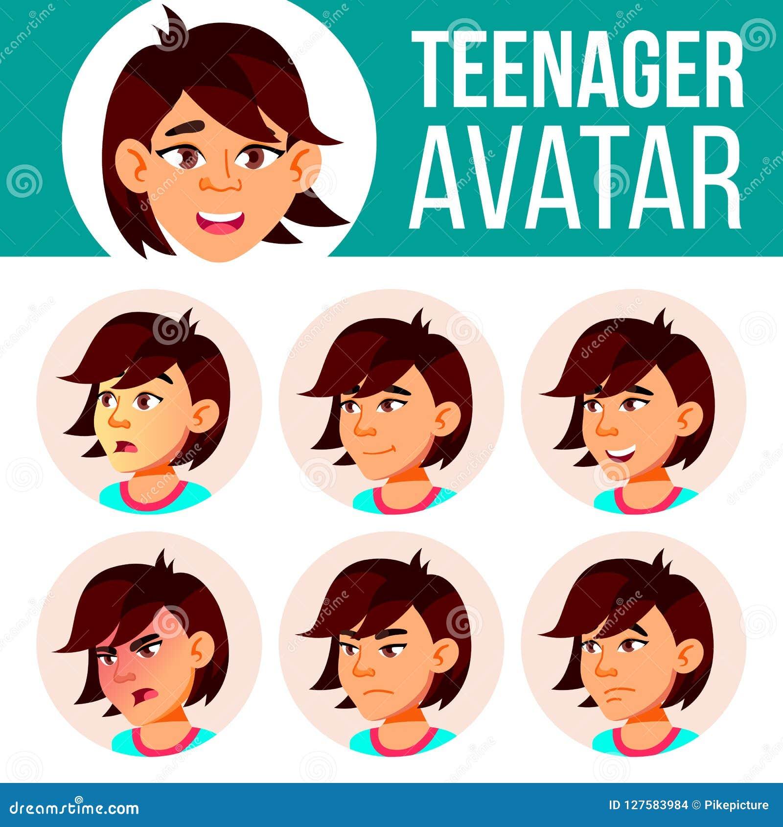Vector determinado de Avatar de la muchacha adolescente asiática Haga frente a las emociones Expresión, persona positiva Belleza,