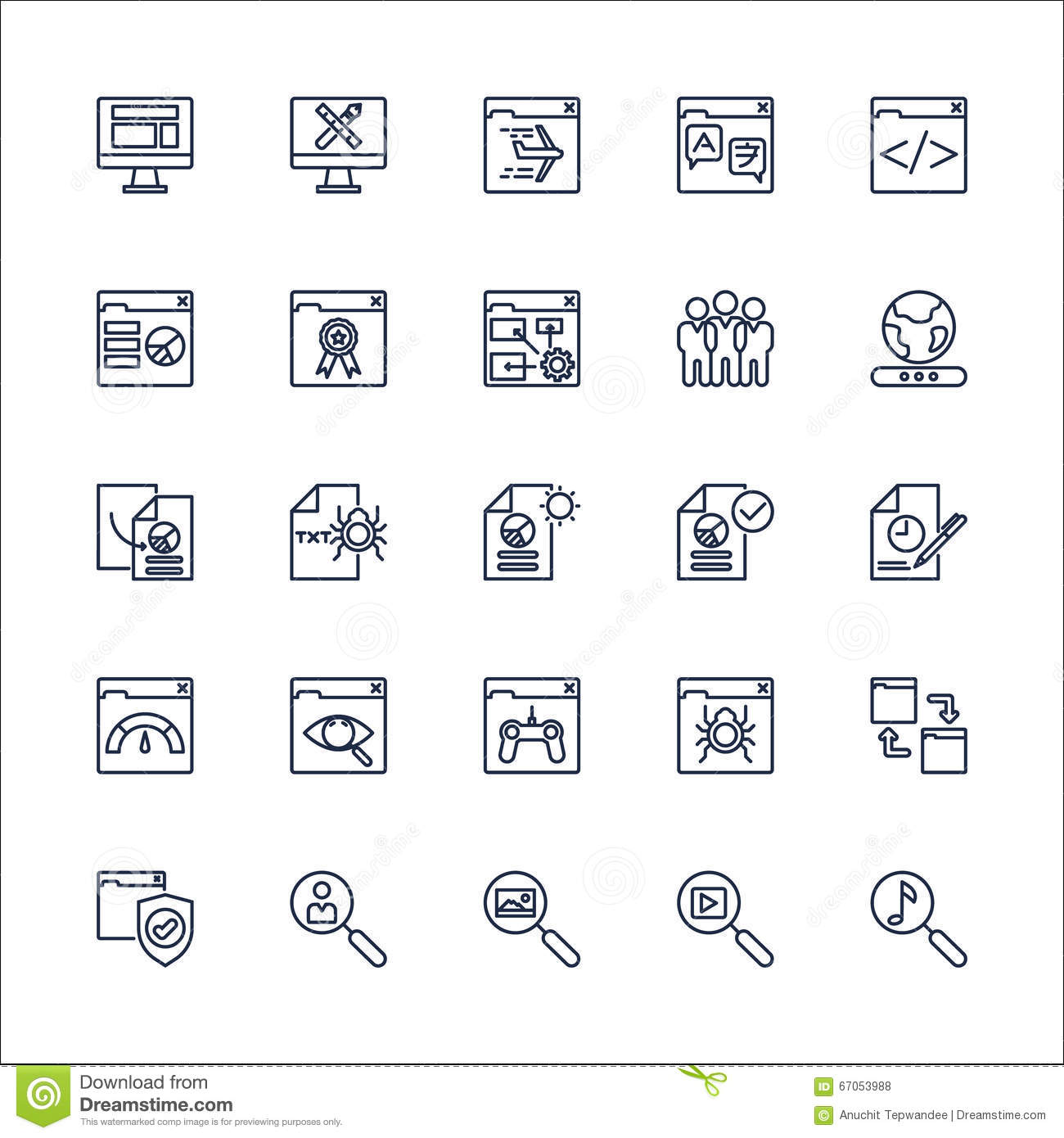 Vector determinado de SEO Outline Icons