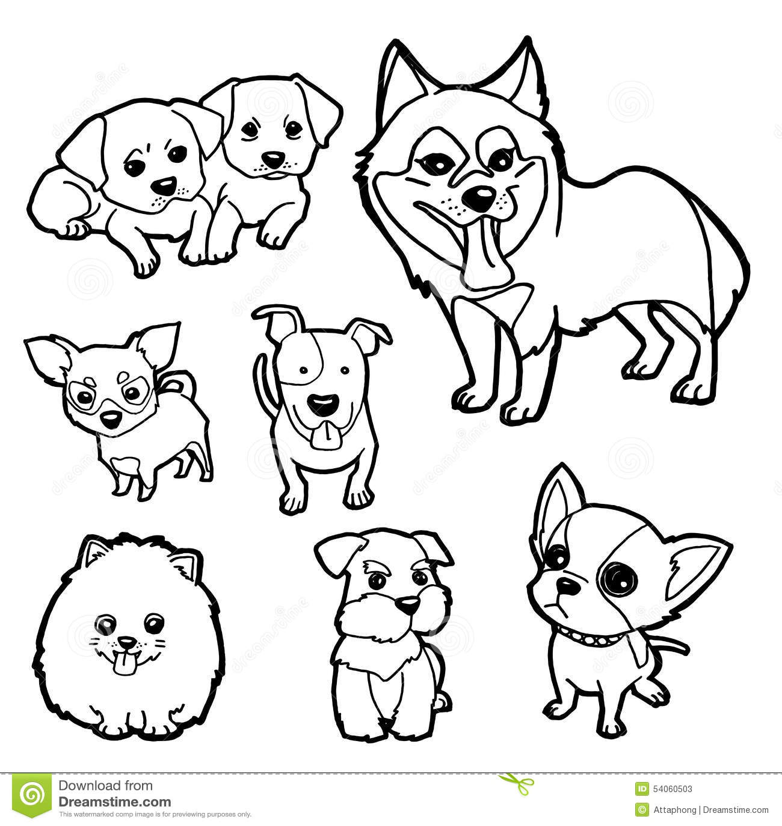 Vector Determinado Del Perro Del Libro De Colorear Ilustración del ...