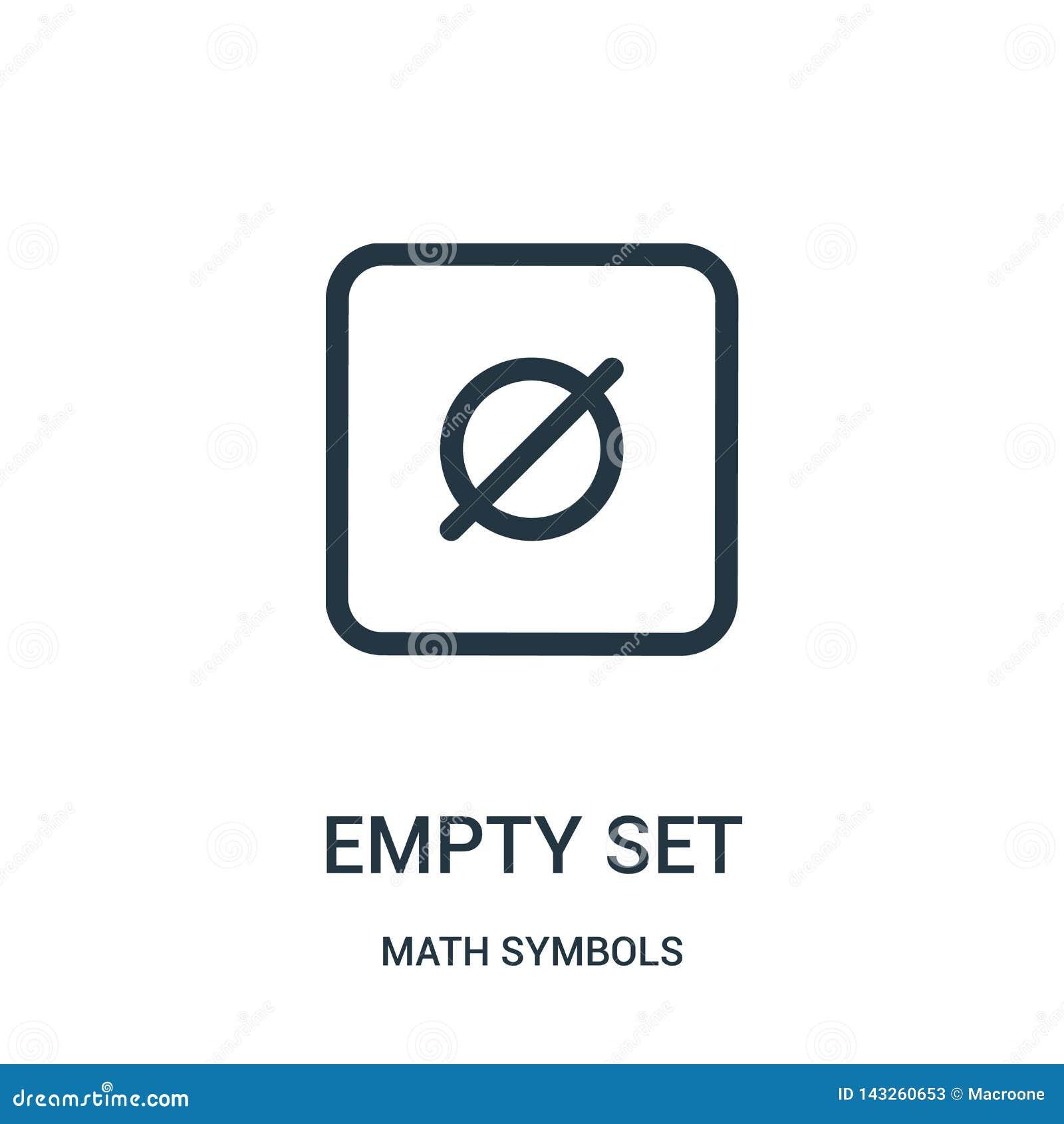 Vector determinado vacío del icono de la colección de los símbolos de la matemáticas Línea fina ejemplo determinado vacío del vec