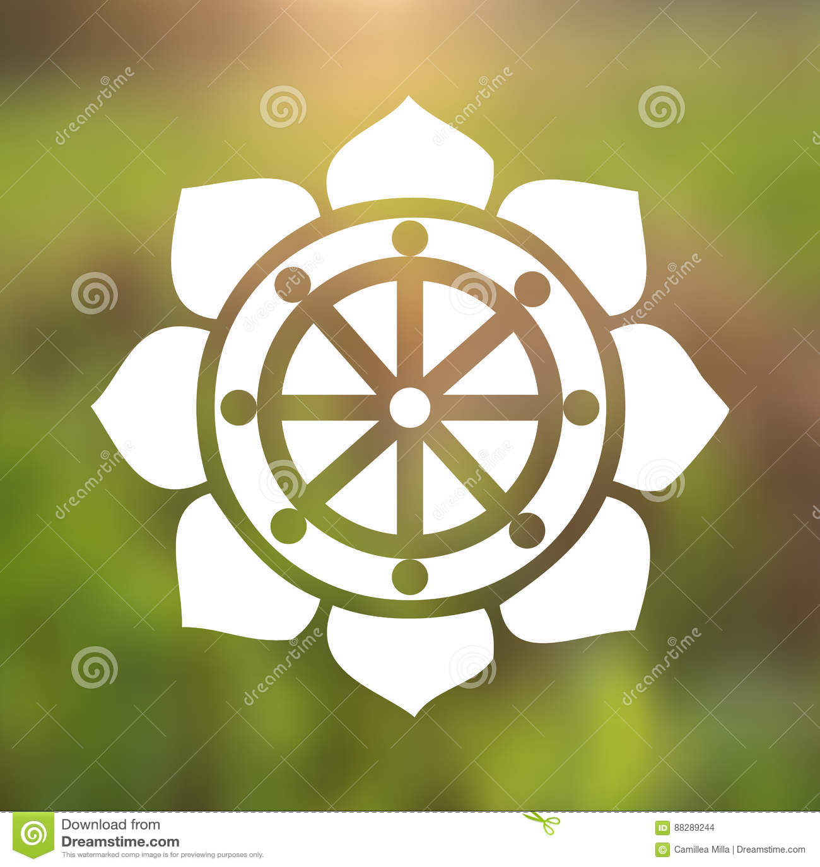 Vector dharma wheel in lotus flower on a cosmic background stock vector dharma wheel in lotus flower on a cosmic background izmirmasajfo